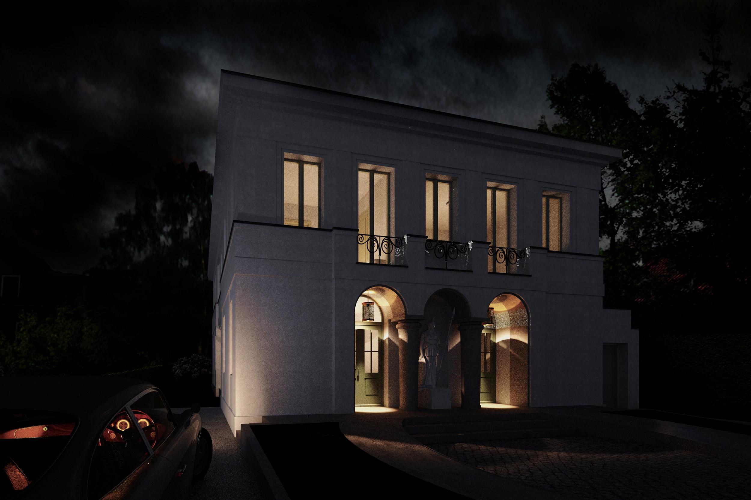Das Eingangsportal ist mit drei Rundbögen gestaltet. Hier betritt man den Wohn- und Speisebereich.