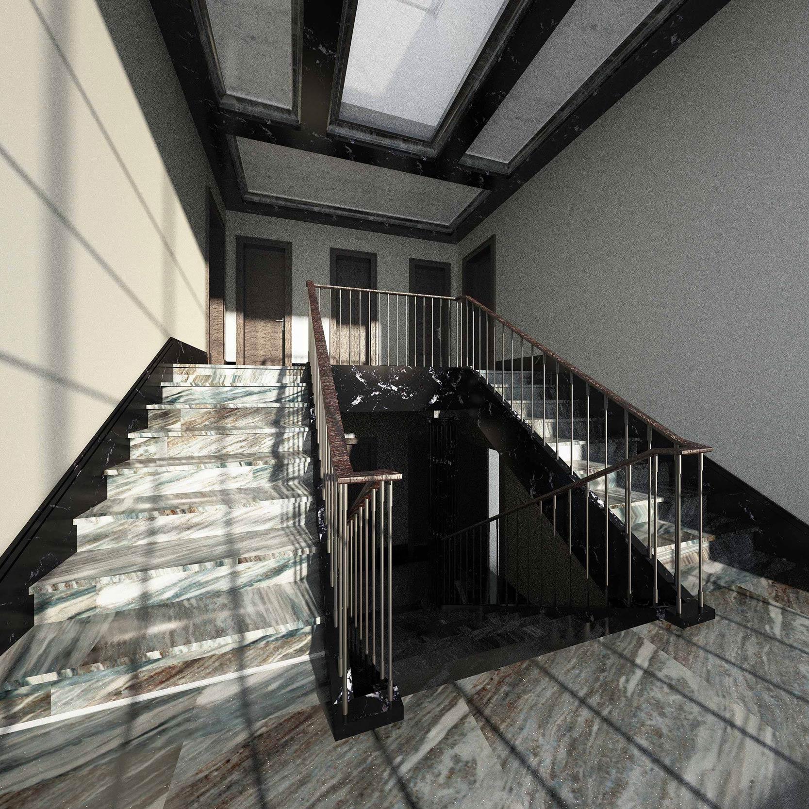 Der Treppenaufgang erhält sein Licht und Ausblick über eine zentrale Dach-Verglasung.