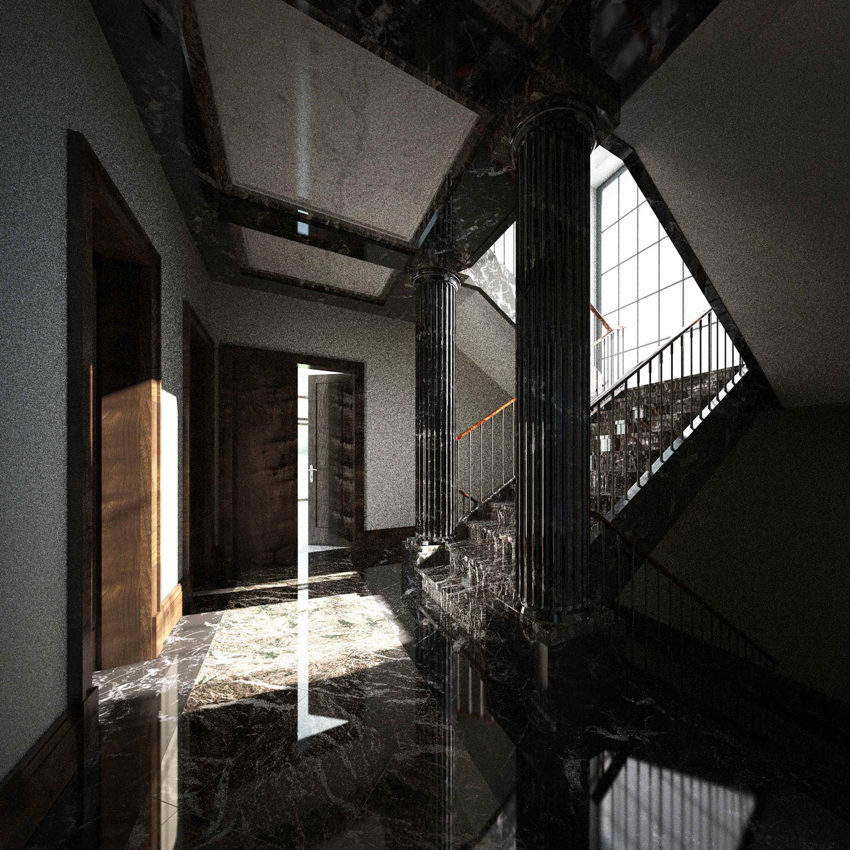 Wohnhaus im Baustil moderner Klassik - Marmorsäulen flankieren im Vestibül den Aufgang auf die Galerie des Obergeschosses.