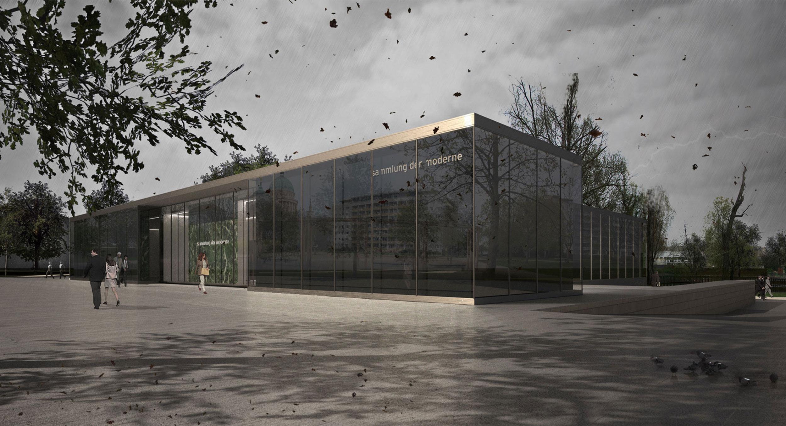 Das Eingangsbereich wirkt durch Glasfassade und Metallstützen transparent.