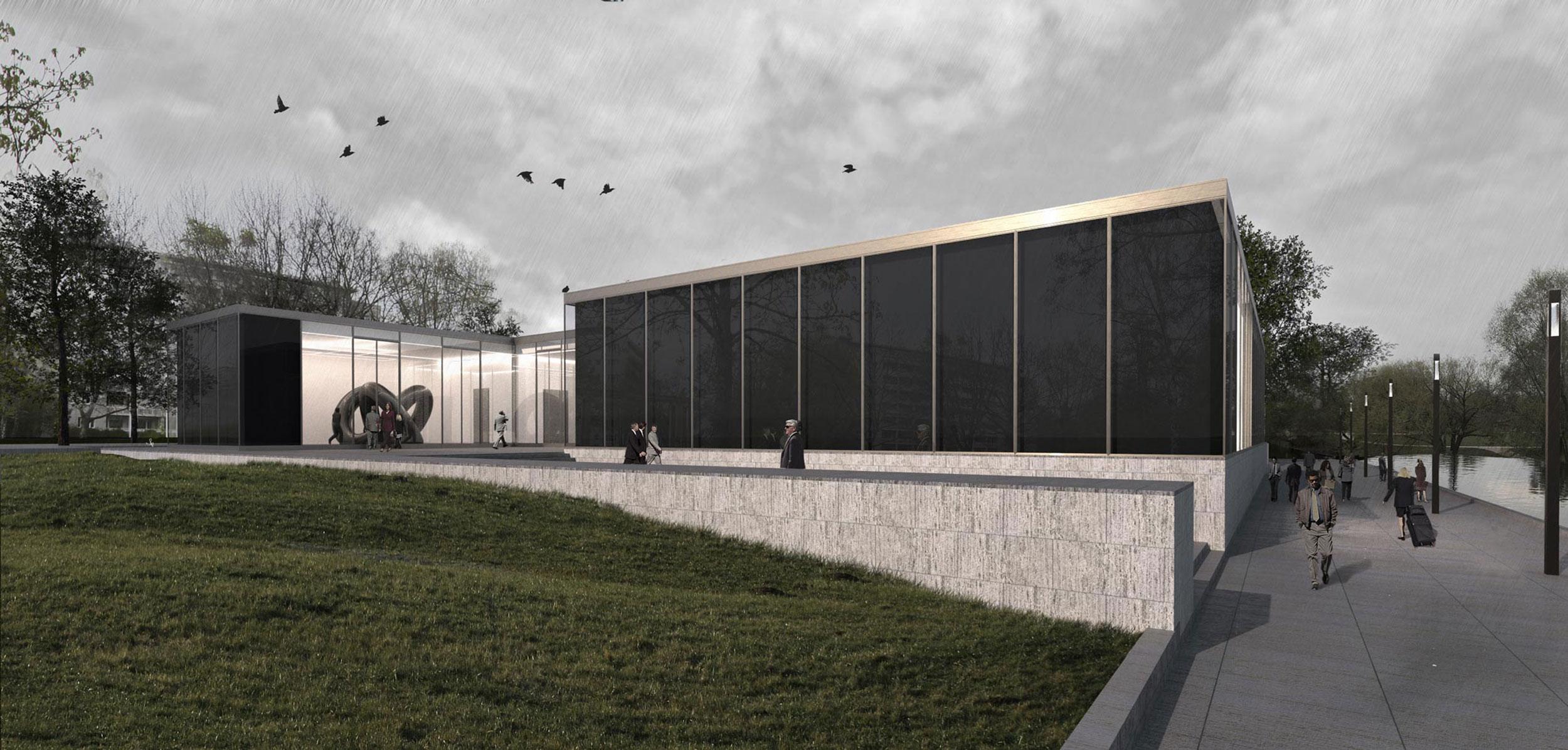Die einzelnen Sammlungsbereiche wirken wie Pavillons in der Landschaft.