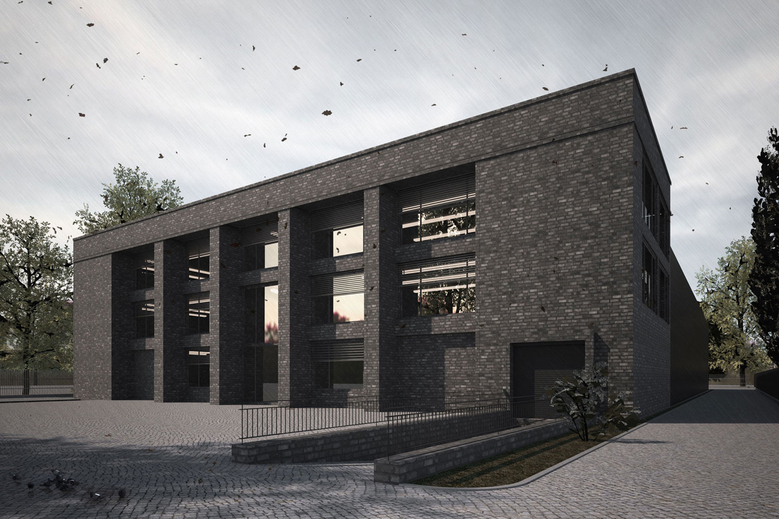 Neubau eines Logistikzentrums mit Büros und Lagerhalle aus Backstein - Doppelgeschossige Säulen aus Backstein strukturieren die moderne Gebäudeform.