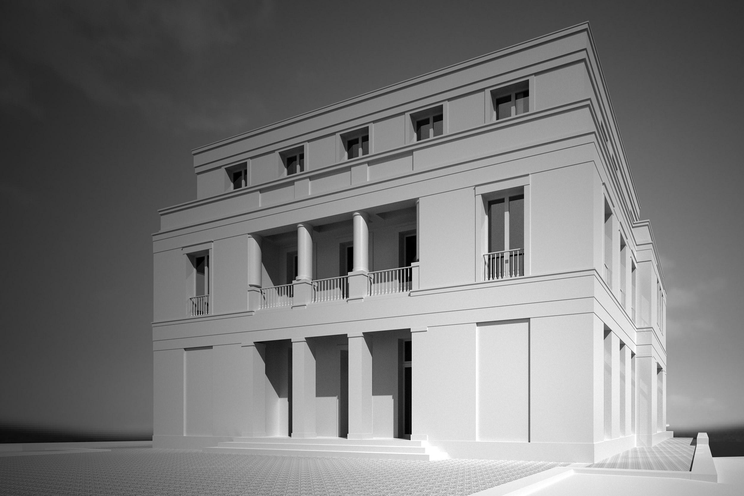 Säulen und Balkone des Eingangs wirken wie bei einem Haus im Altbaustil
