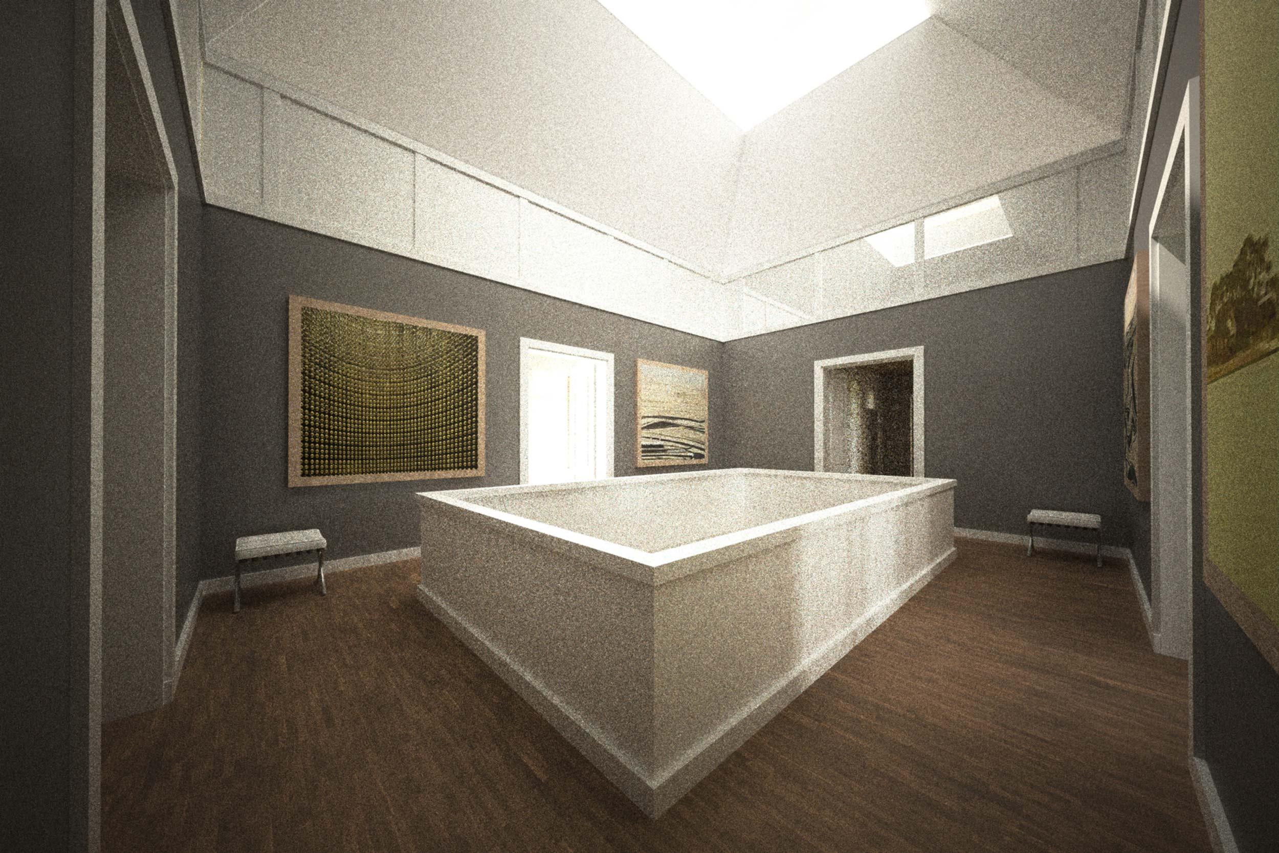 Die Galerie der neuen Halle erhält über das Dach natürliches Licht