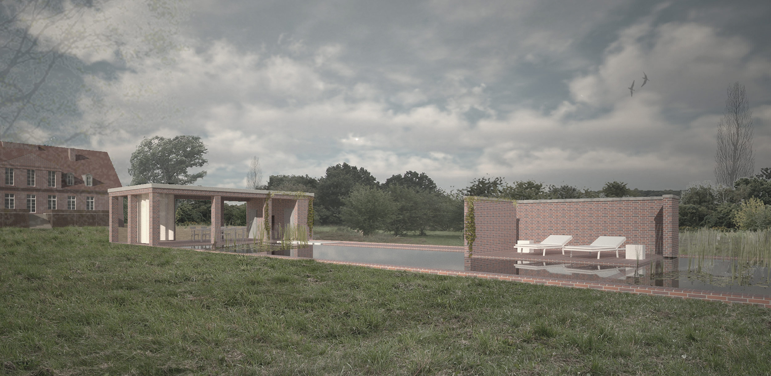 Der Poolbereich mit pergolaüberdeckter Terrasse und Sonneninsel