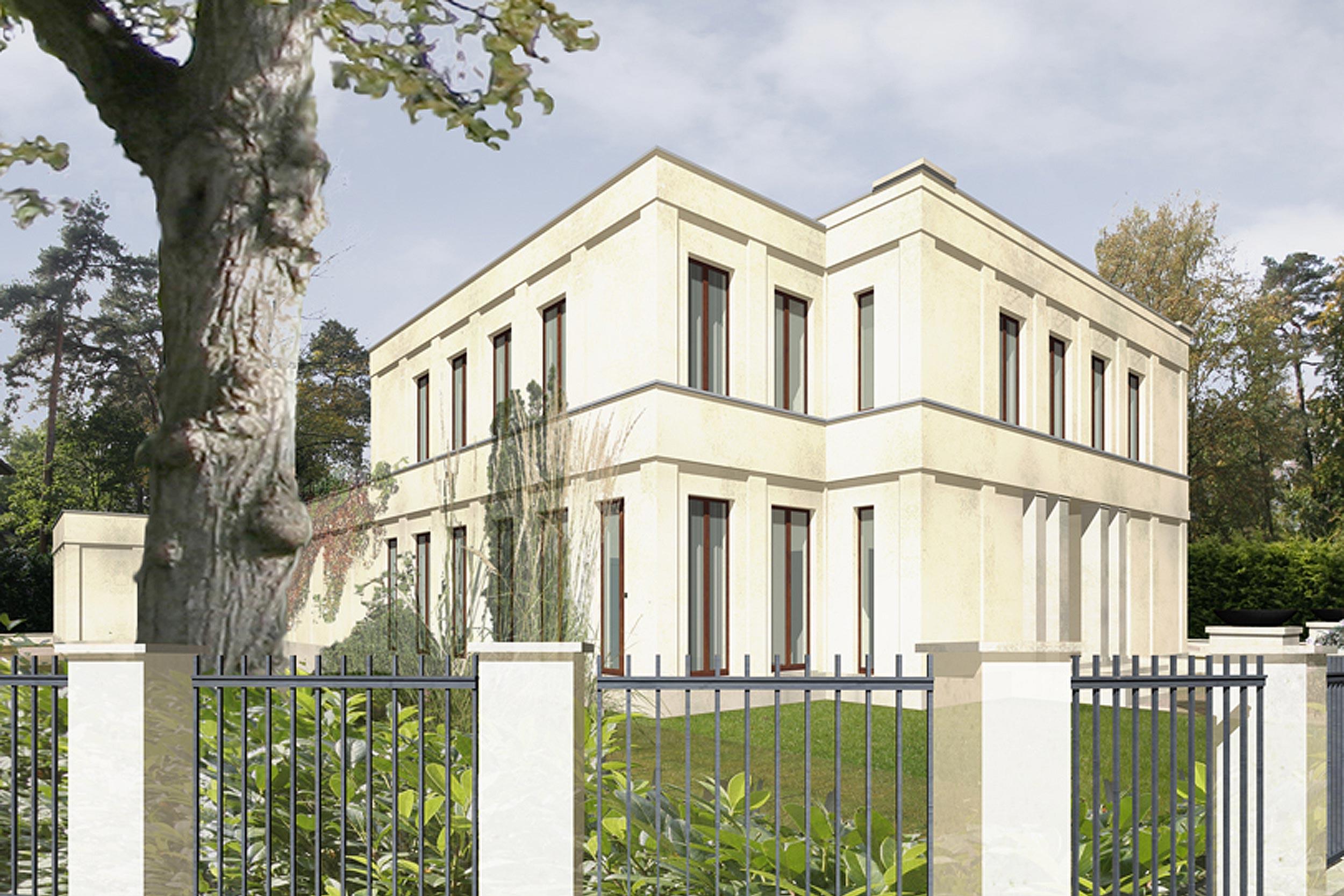 Der Seitenflügel des Haupthauses besitzt zur Straße hin eine elegante Wirkung.