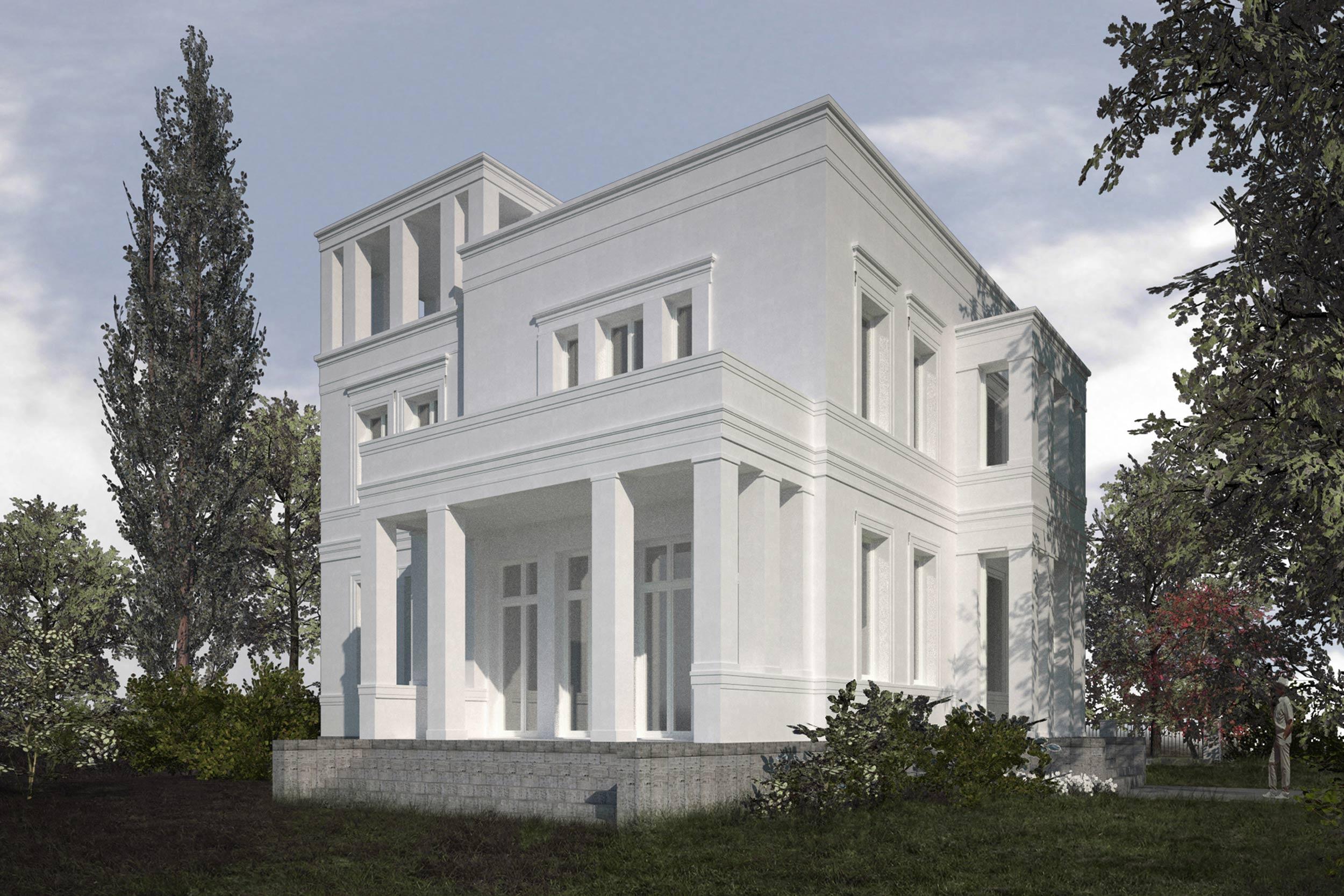 Errichtung klassischer Neubauvillen in Potsdam-Jungfernsee - Blick auf die Gartentreppe aus Naturstein und das Belvedere der Turmvilla
