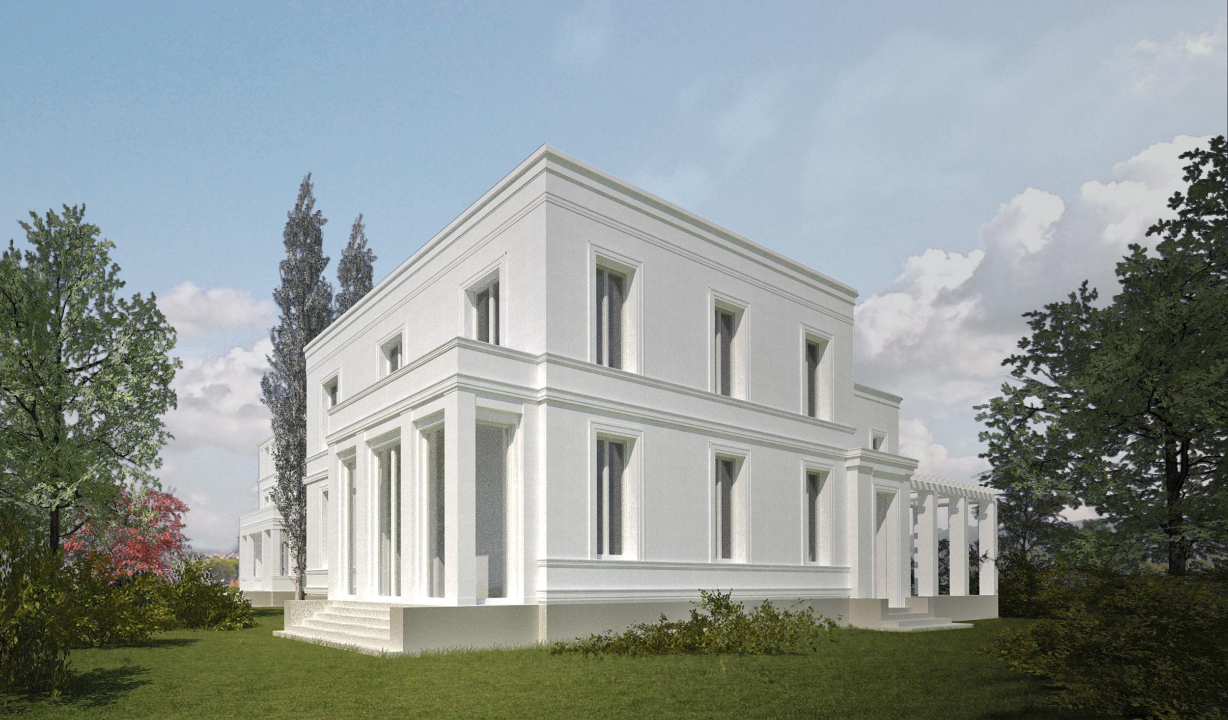 Errichtung klassischer Neubauvillen in Potsdam-Jungfernsee - Klassische Fassadenordnung mit profilierten Fensterumrahmungen und Stuckgesimsen