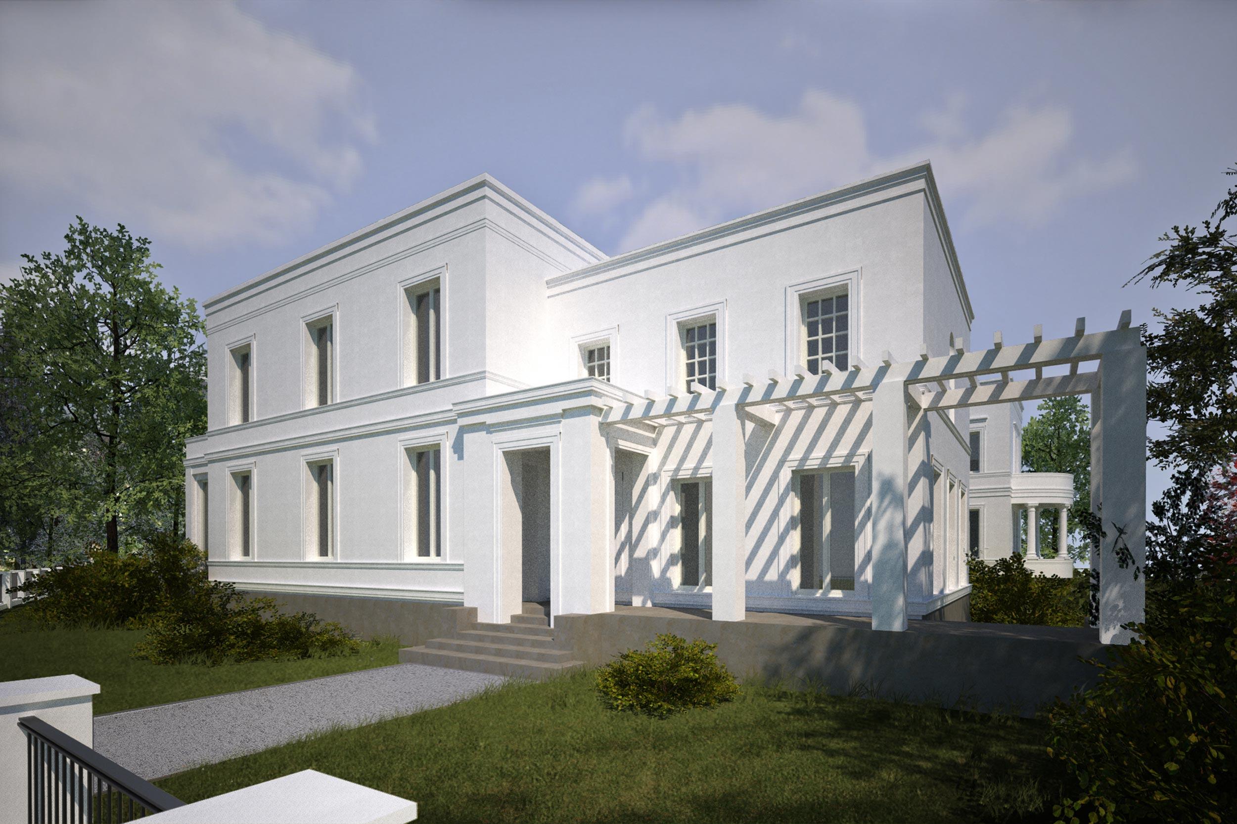 Klassische Neubauvillen in Potsdam-Jungfernsee - Das überdachte Säulenportal, die Porch und die Pergola der zweigeschossigen Villa