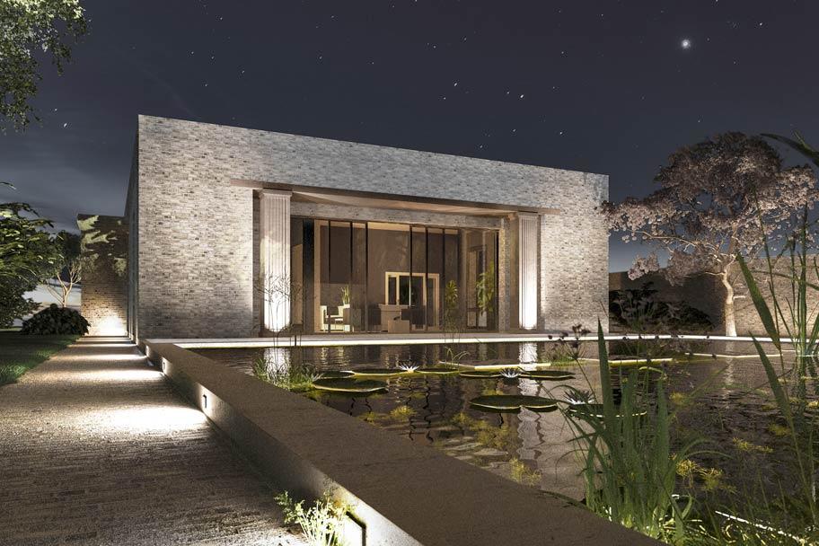 Minimalistisches Landhaus aus Backstein