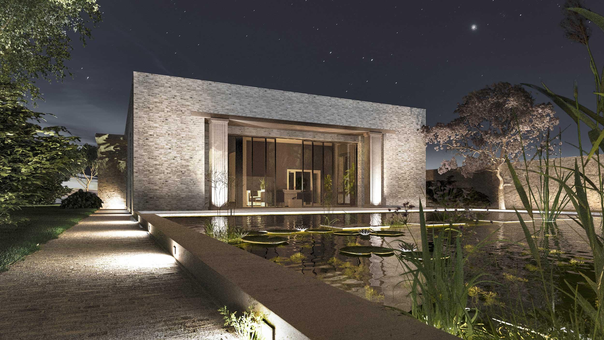 Minimalistisches Landhaus aus Backstein - Die Mörtelfugen, die Sonnenporch und ein Säulenpaar gliedern das puristische Äußere des Hauses aus Backstein.