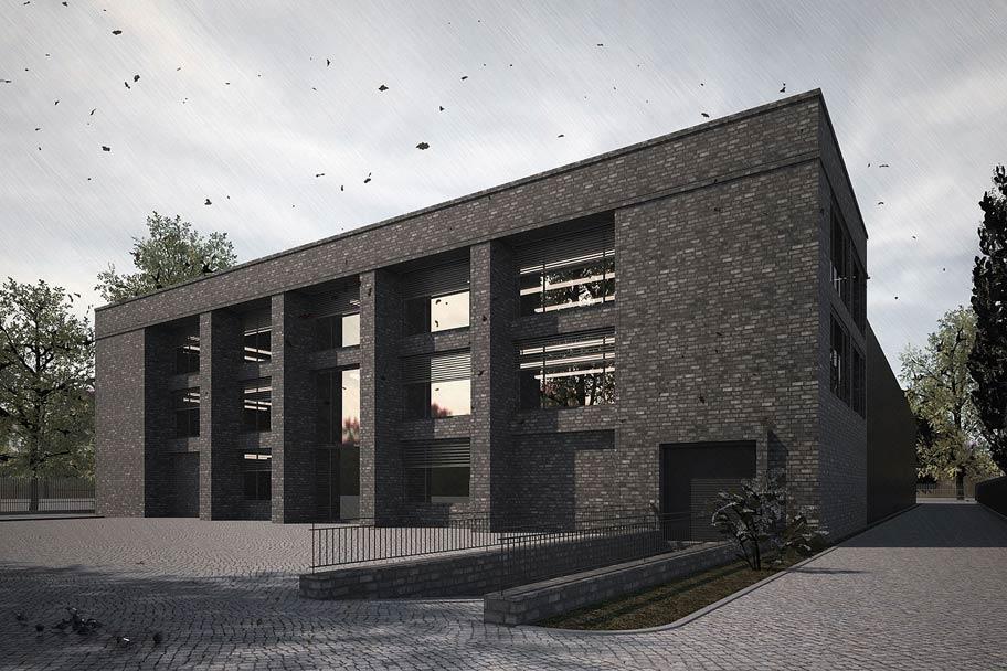Logistikzentrum mit Büros und Lagerhalle aus Backstein