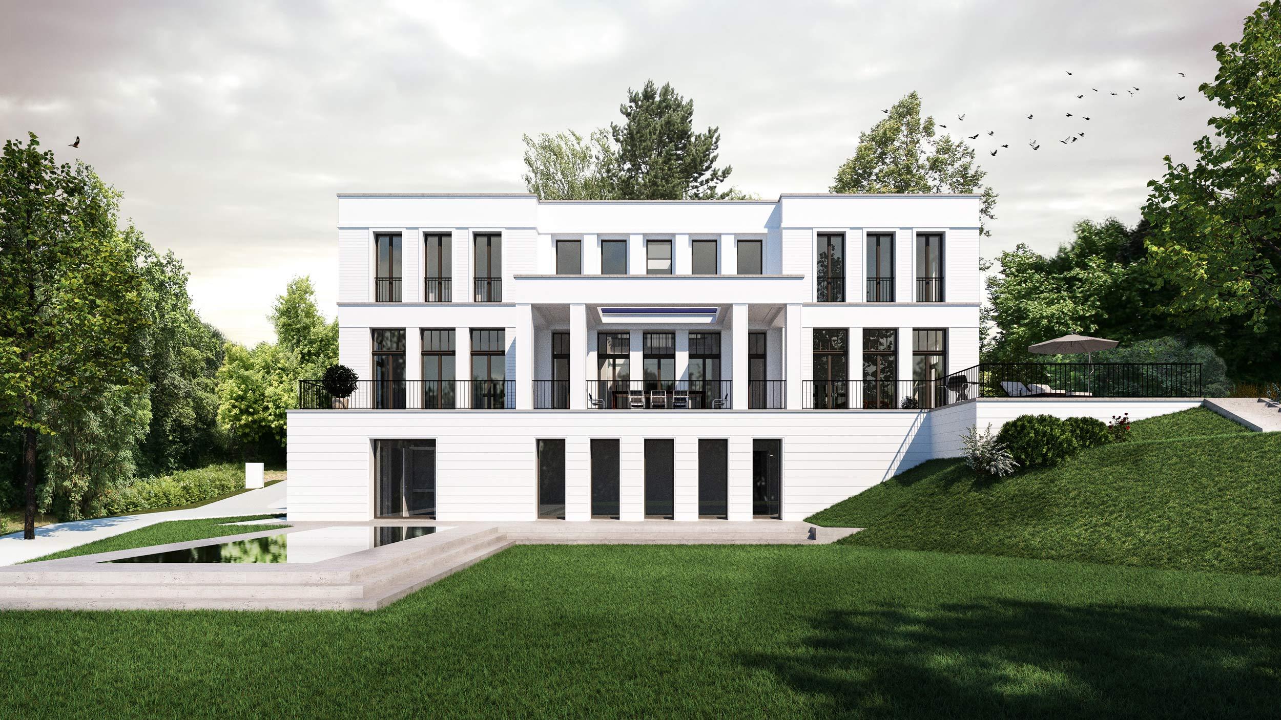 Die Hanglage der Villa bietet den Nutzern besondere Orte: eine Pergola für Dinners im Freien, einen Fitnessbereich im Basement und eine Poollandschaft im Freien.