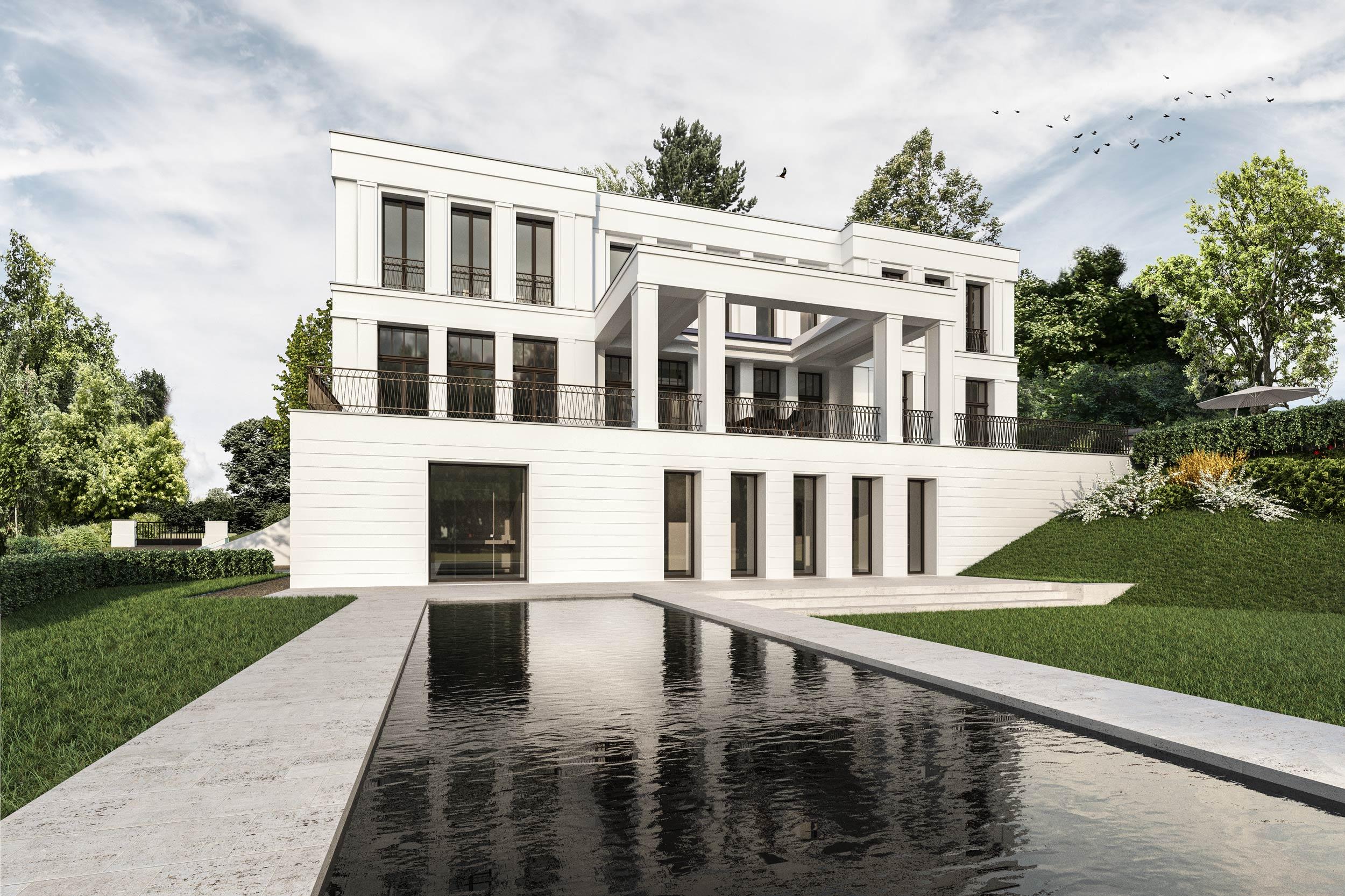 Die klassische Villa am Hang wird im Souterrain als Fitness- und Wellnessbereich genutzt. Der Saunabereich ist zum Garten hin direkt an den Außenpool angeschlossen.