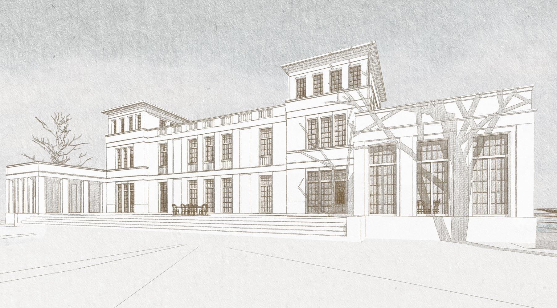 ENGLISH COUNTRY HOUSE - Neubau einer Villa am See im Stil eines englischen Landhauses. Die Fassaden sind bodentief verglast.