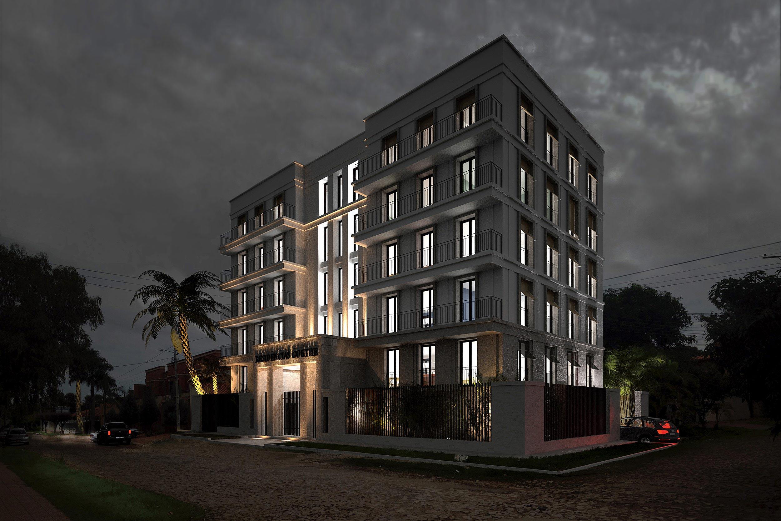 GOETHE RESIDENZEN - Neubau eines Appartementhauses mit exklusiven Wohnungen - Die Nachtbeleuchtung betont die Fassadenstruktur und die ausladenden Balkone.
