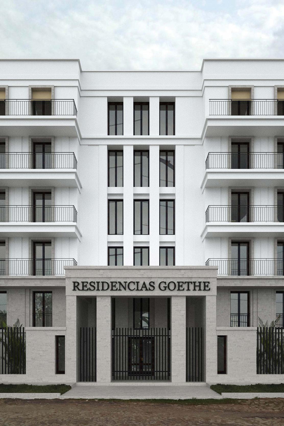 GOETHE RESIDENZEN - Neubau eines Appartementhauses mit exklusiven Wohnungen - Das Eingangsportal der Gated Apartments wirkt klassisch und repräsentativ.