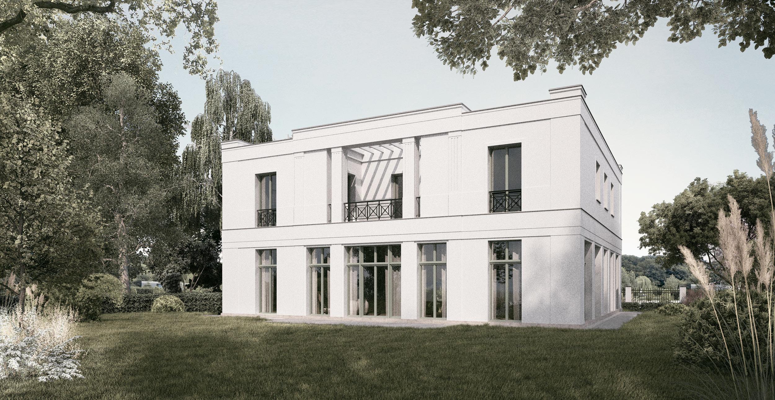 Neubau einer Villa im Klassik-Stil mit Mittelrisalit in Potsdam - Die pergolaüberdeckte Loggia eröffnet einen schönen Blick in den Garten.