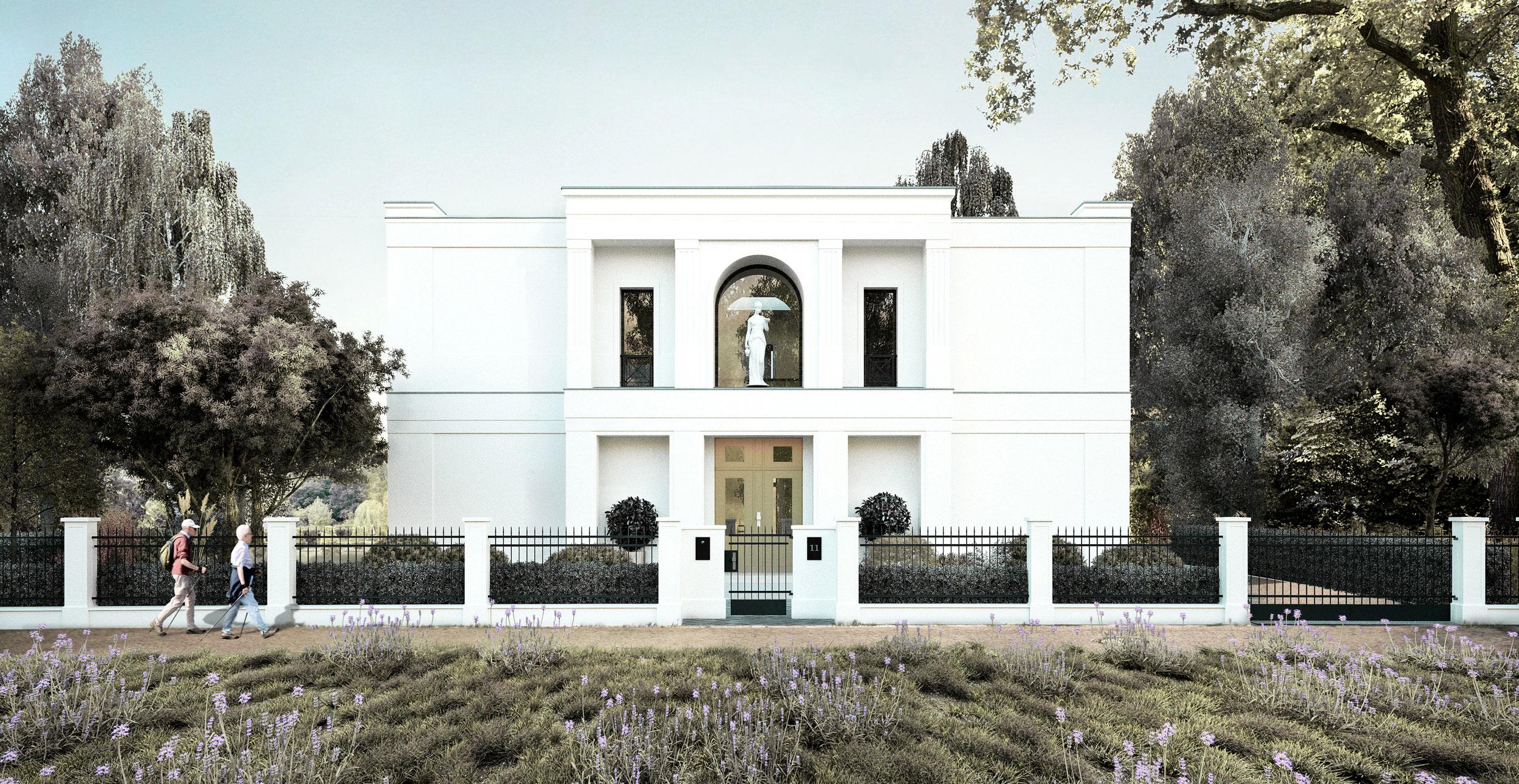 neubau einer villa im klassik stil mit mittelrisalit in. Black Bedroom Furniture Sets. Home Design Ideas