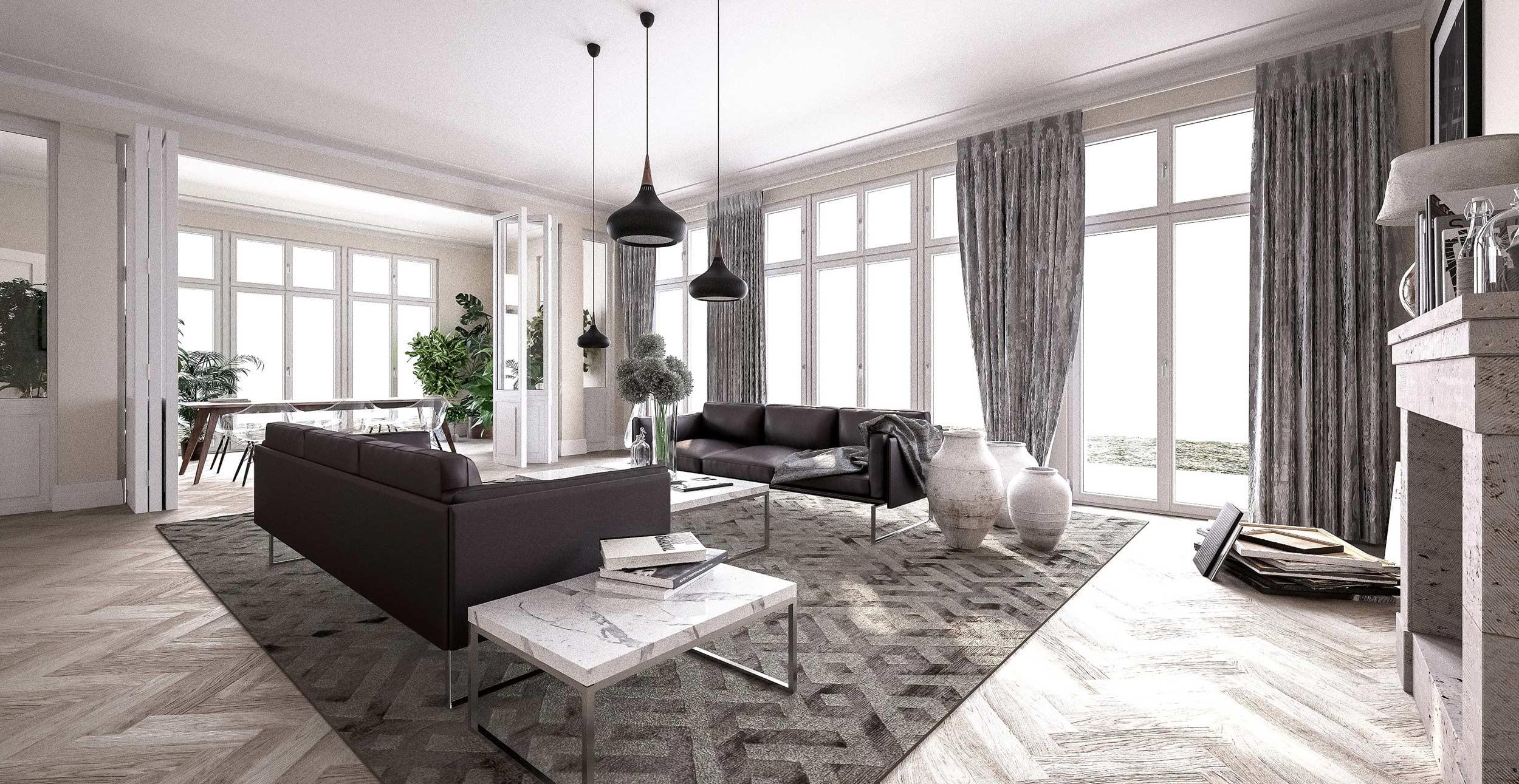 Neubau einer Villa im Klassik-Stil mit Mittelrisalit in Potsdam - Der Wohn- und Essbereich zum Garten ist nahezu vollverglast.