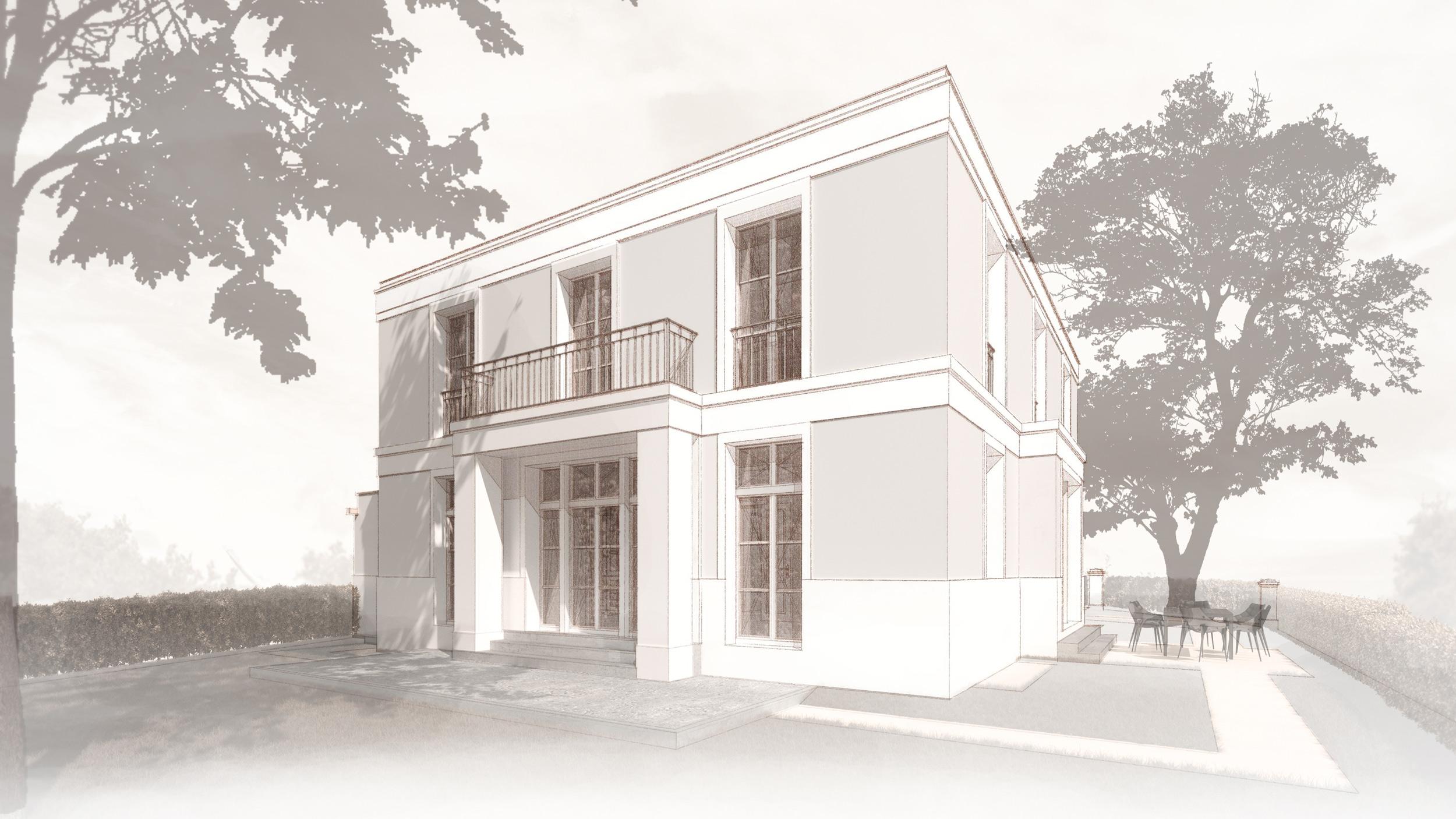 Realisierung Landhaus klassische Prägung Kleinmachnow Fassade erkerartiger Vorbau Balkon Erdgeschoss
