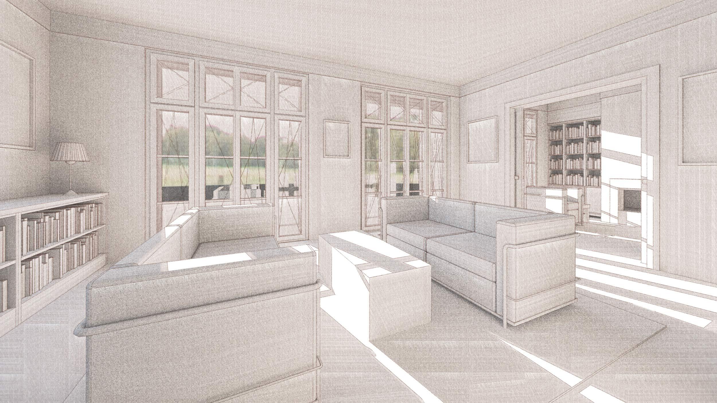 Realisierung eines Landhauses mit klassischer Prägung - Die Schiebetür erlaubt einen Durchblick zur Bibliothek mit Kamin.