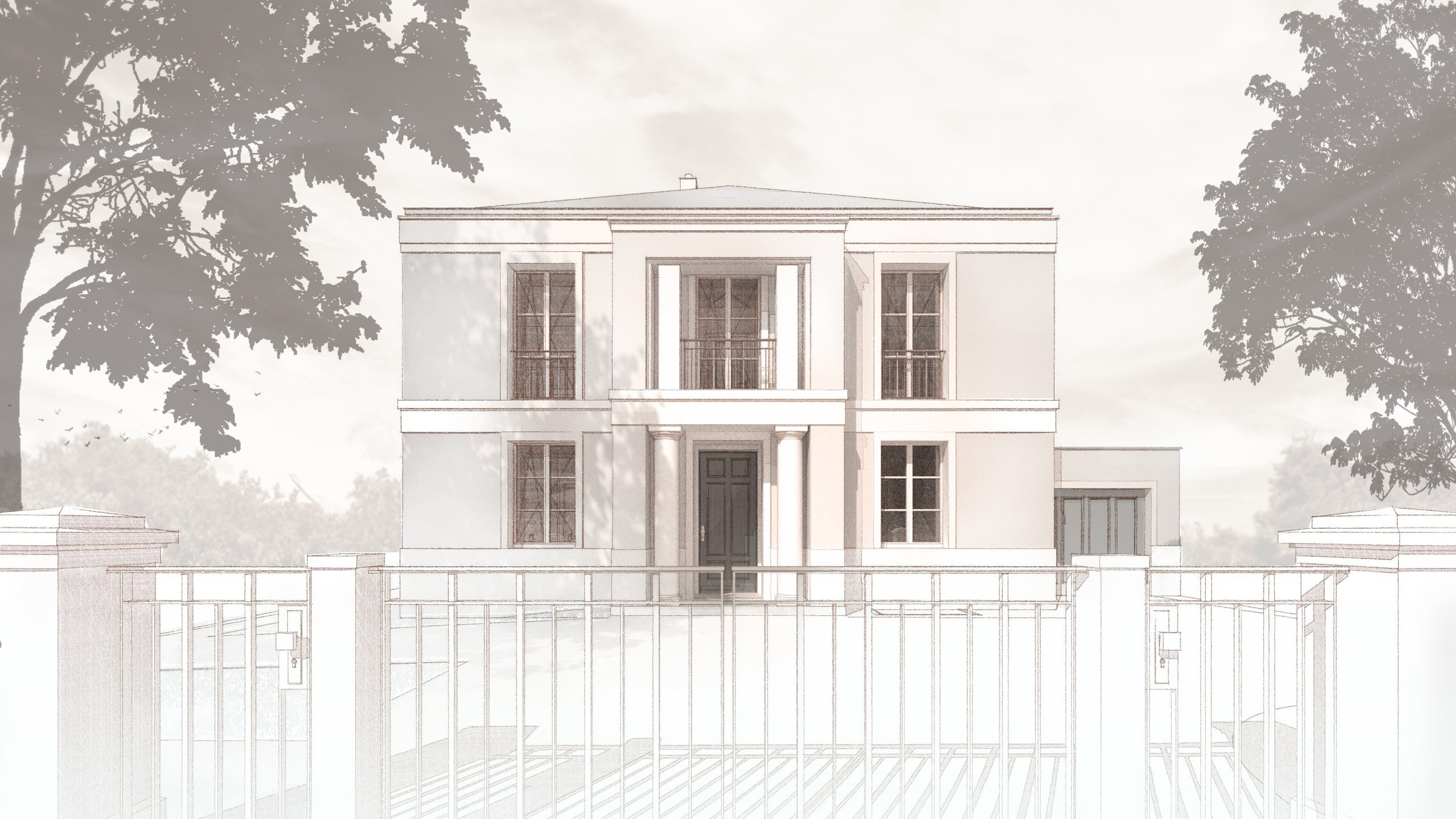Realisierung eines Landhauses mit klassischer Prägung in Kleinmachnow - Das zweigeschossige Portal mit Porch und Balkon