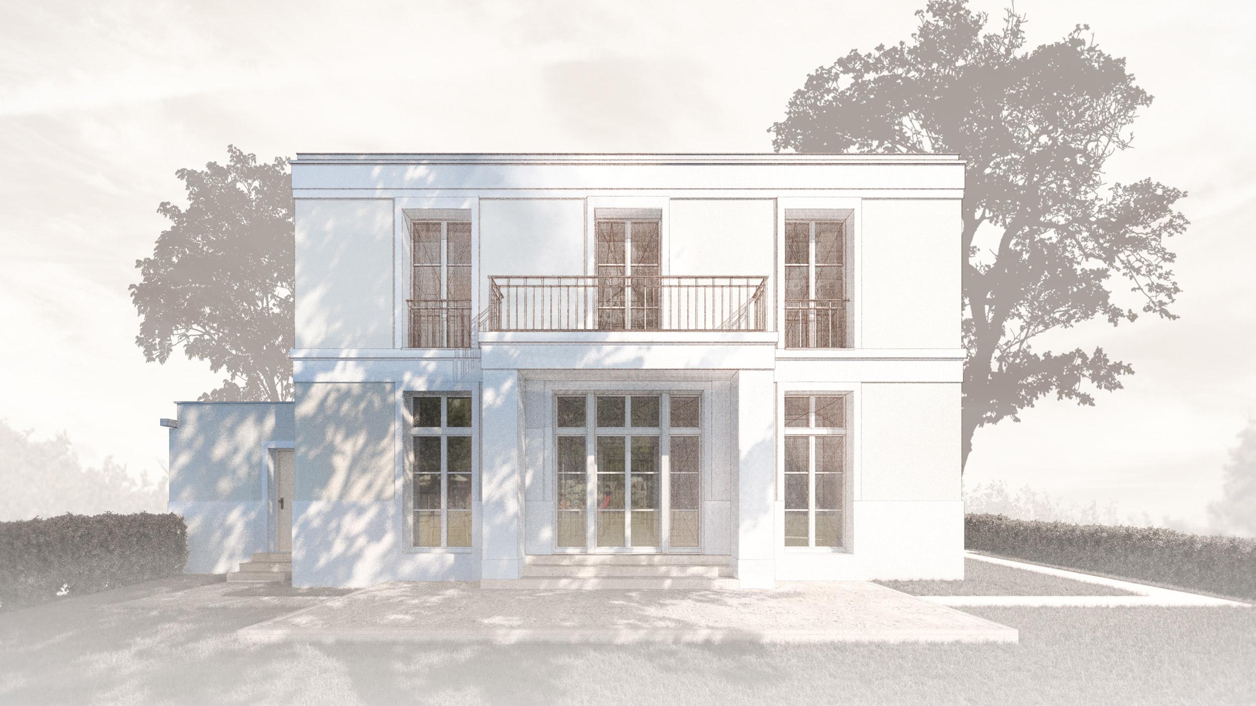 Realisierung eines Landhauses mit klassischer Prägung in Kleinmachnow - Die Fassaden gliedern Sockel, Gesimse und feine Putzfaschen.