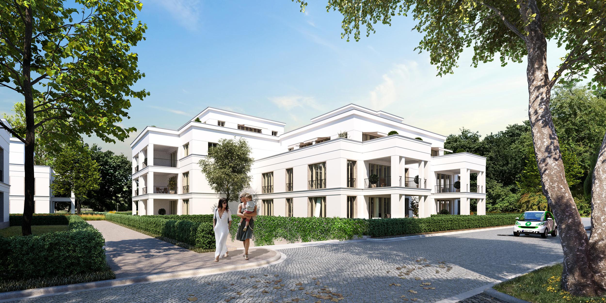 Neubauprojekt eines Wohnquartiers mit 42 Eigentumswohnungen - Vom Hofgartenweg aus erlebt man die großzügig terrassierten Südseiten in weisser Eleganz.