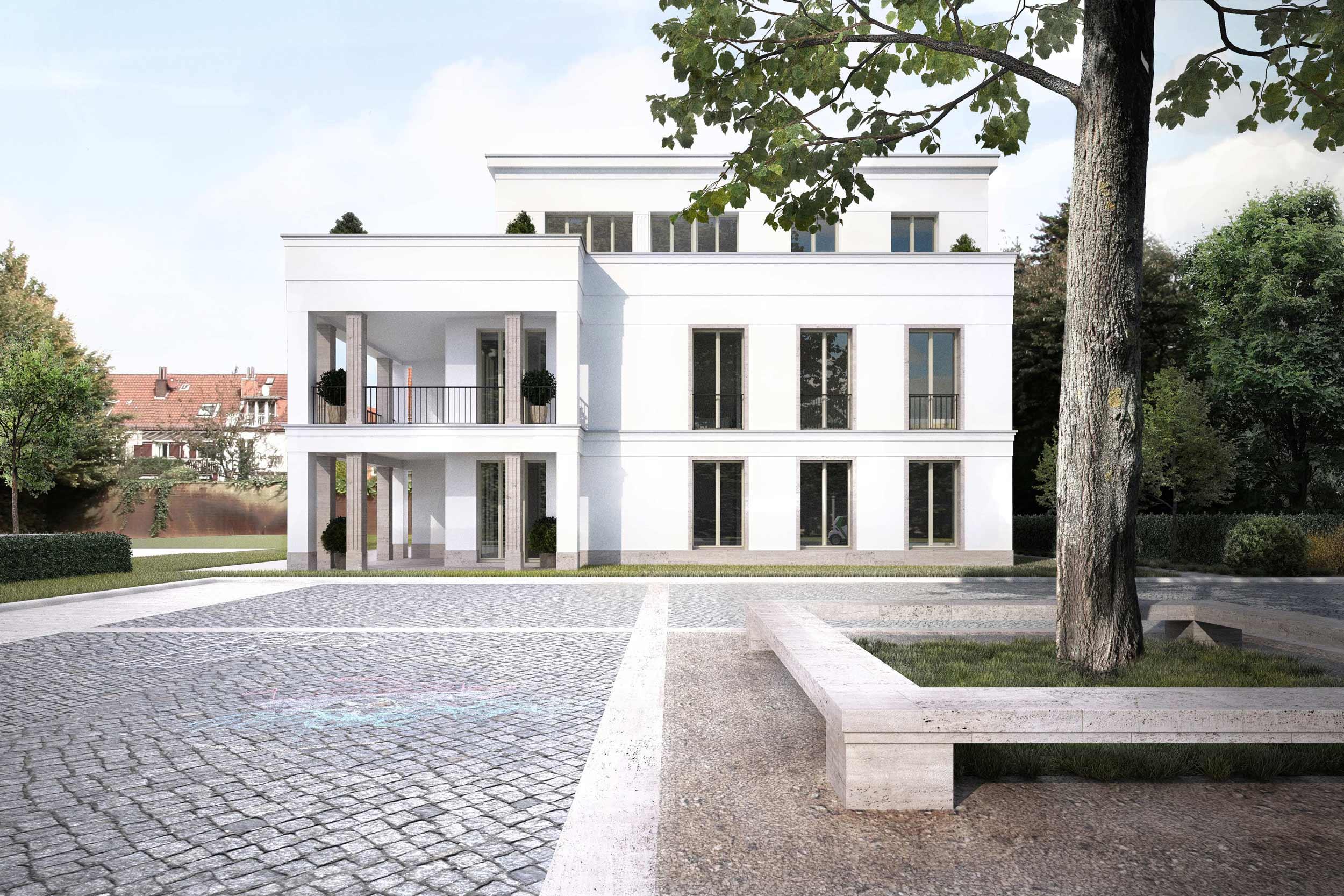Neubauprojekt eines Wohnquartiers mit 42 Eigentumswohnungen - Der hohe Gestaltungsanspruch der Fassaden erfordert hochwertige Bauqualität und Materialien.