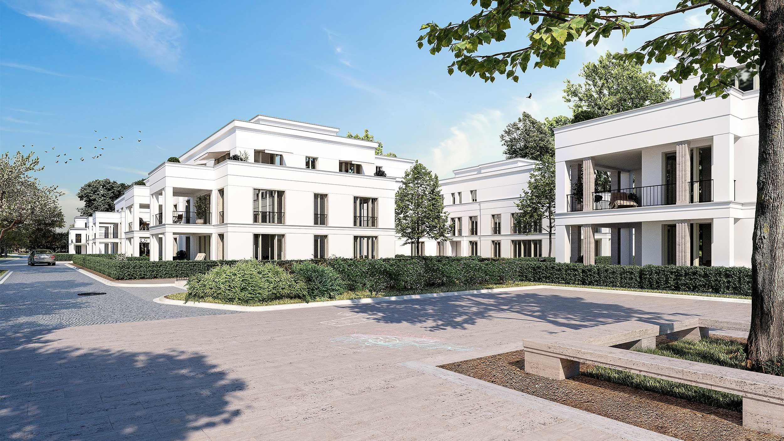 Neubauprojekt eines Wohnquartiers mit 42 Eigentumswohnungen - Die Wohnresidenzen im Park zeigen eine klassisch moderne Architektur