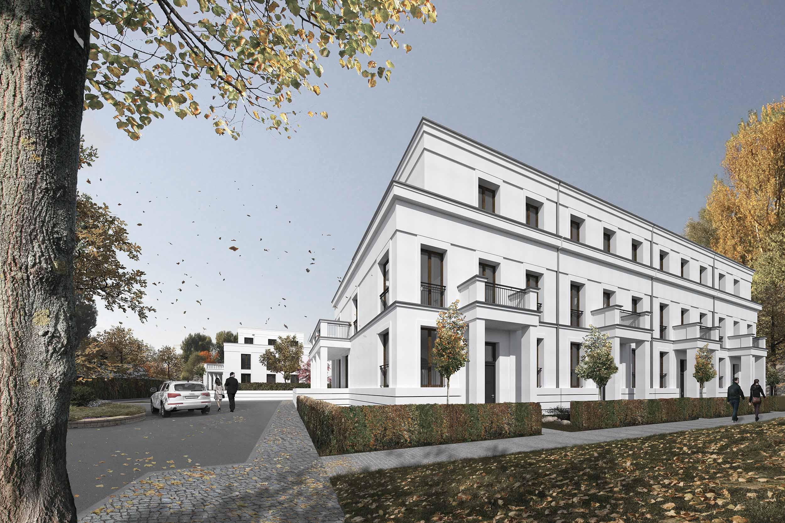 Neubauprojekt eines Wohnquartiers mit 42 Eigentumswohnungen - Die Townhhouses mit traditionellen Stilelementen Bremer Architektur