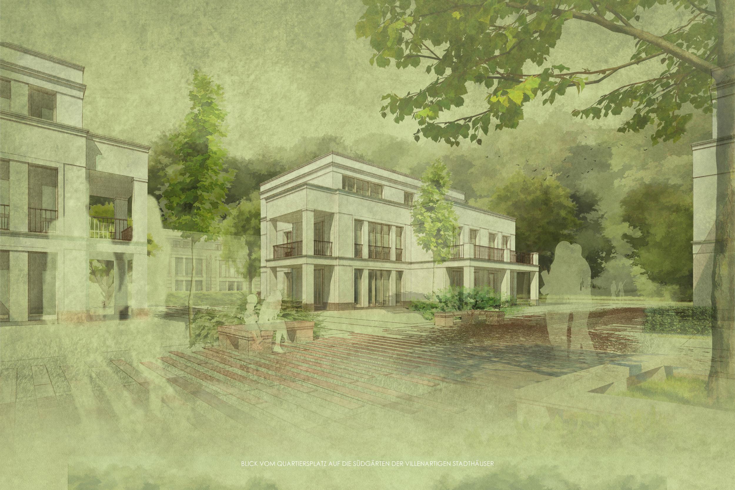 Wohnensemble im Landschaftspark - Errichtung von Neubauwohnungen - Die Mehrfamilienhäuser mit viel Grünraum und Privatgärten