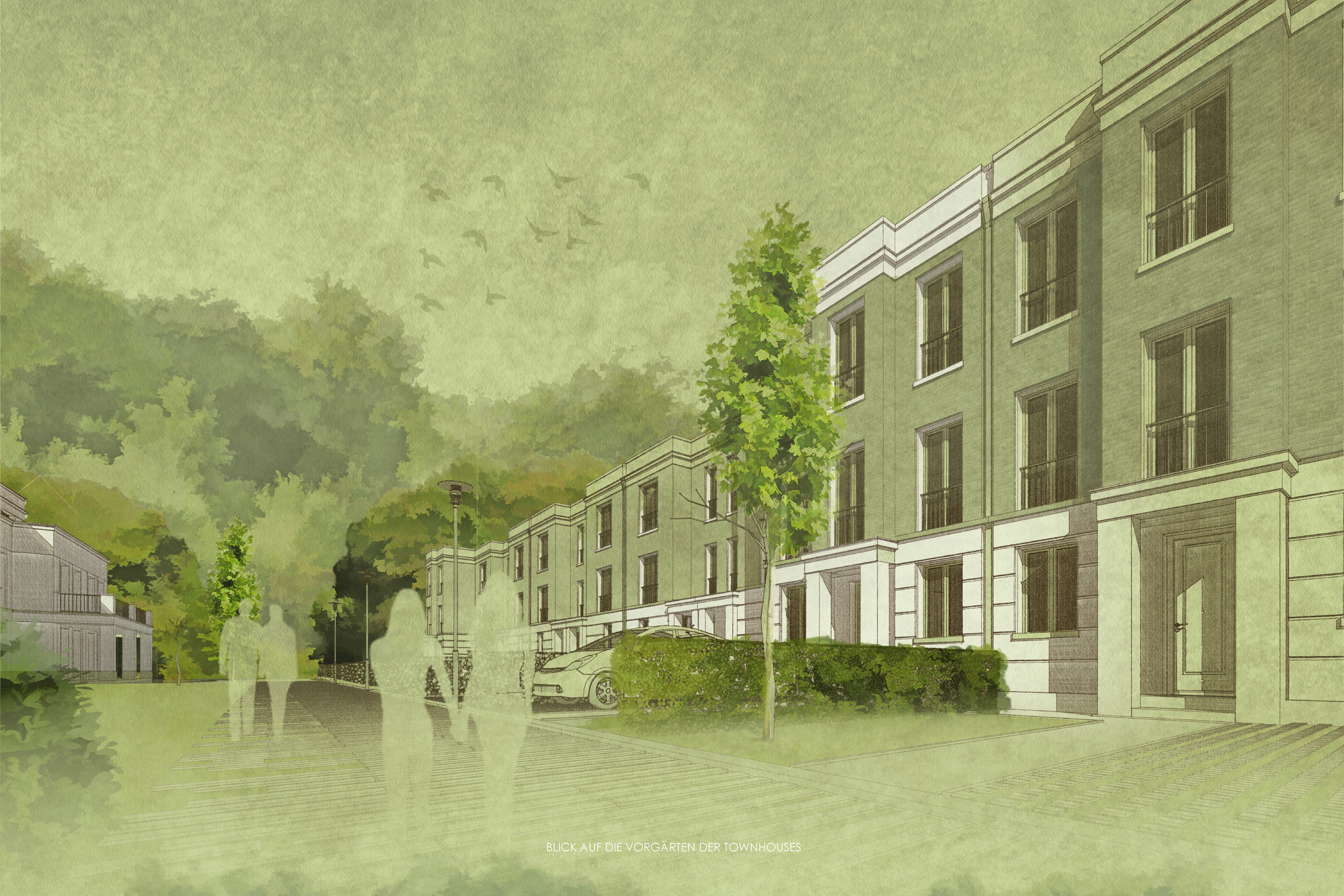 Wohnensemble im Landschaftspark - Errichtung von Neubauwohnungen - Ansicht der Straßenfassade der Townhouses