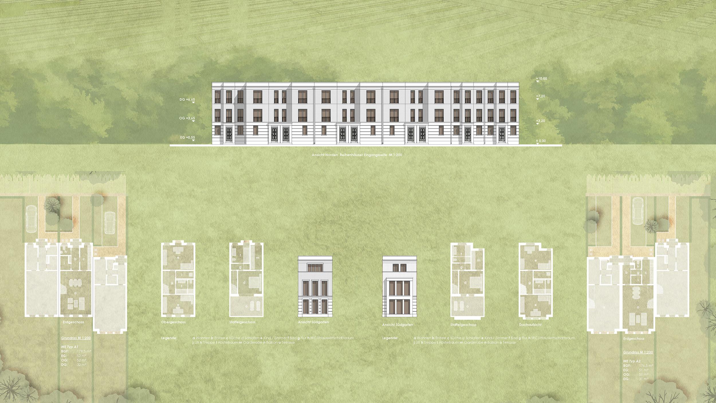 Wohnensemble im Landschaftspark - Errichtung von Neubauwohnungen - Wohnen im Townhouse auf drei Ebenen