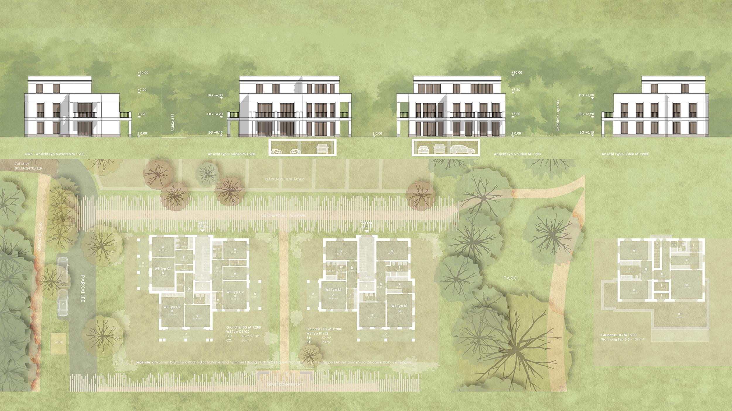 Wohnensemble im Landschaftspark - Errichtung von Neubauwohnungen - Mehrfamilienhäuser mit flexiblen Wohnungsgrößen