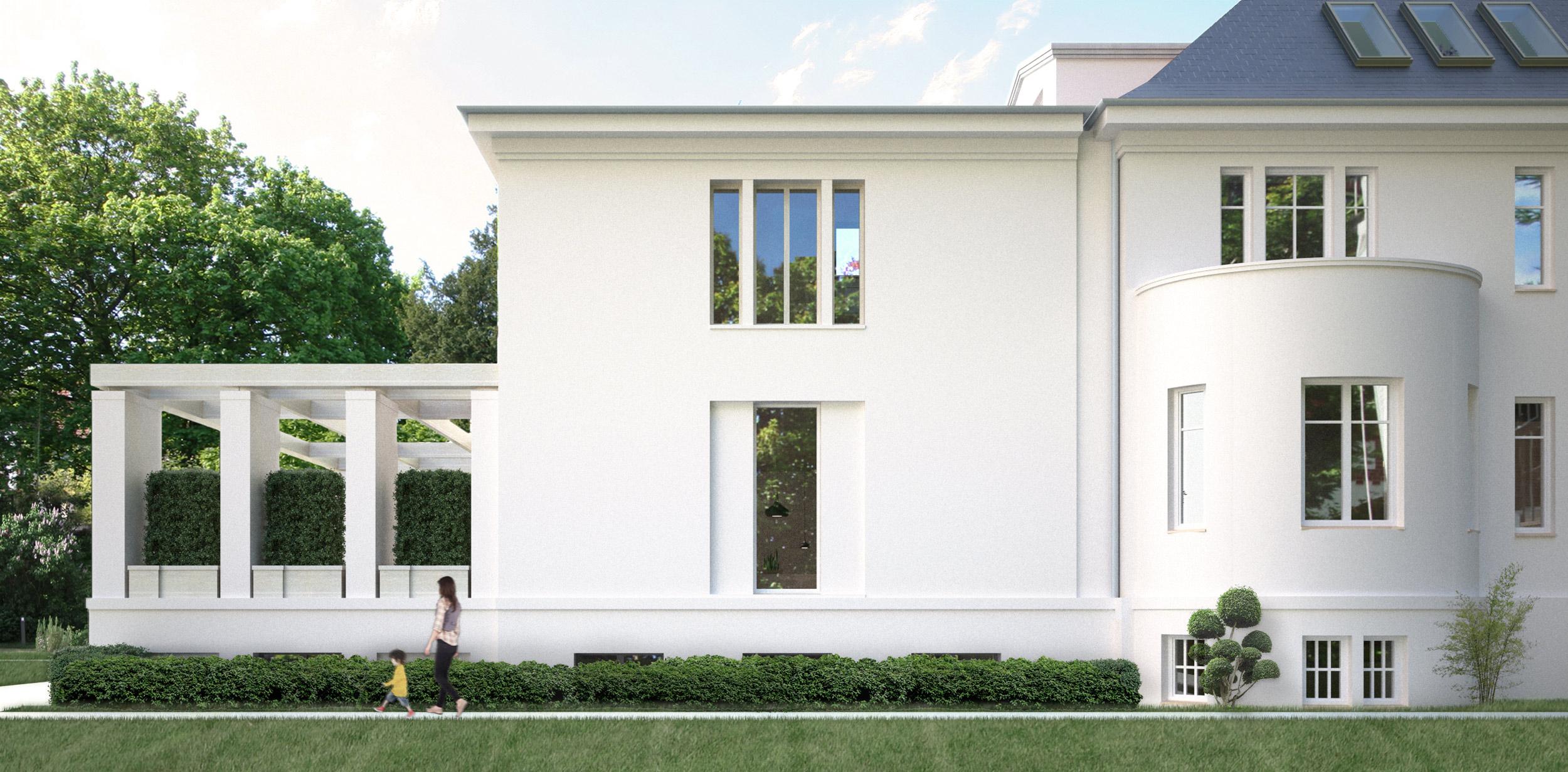 HAUS AM HAUS - Erweiterung einer Dahlemer Stadtvilla - Der Kubus des Bestandsbaus wurde exakt gespiegelt und modern interpretiert.