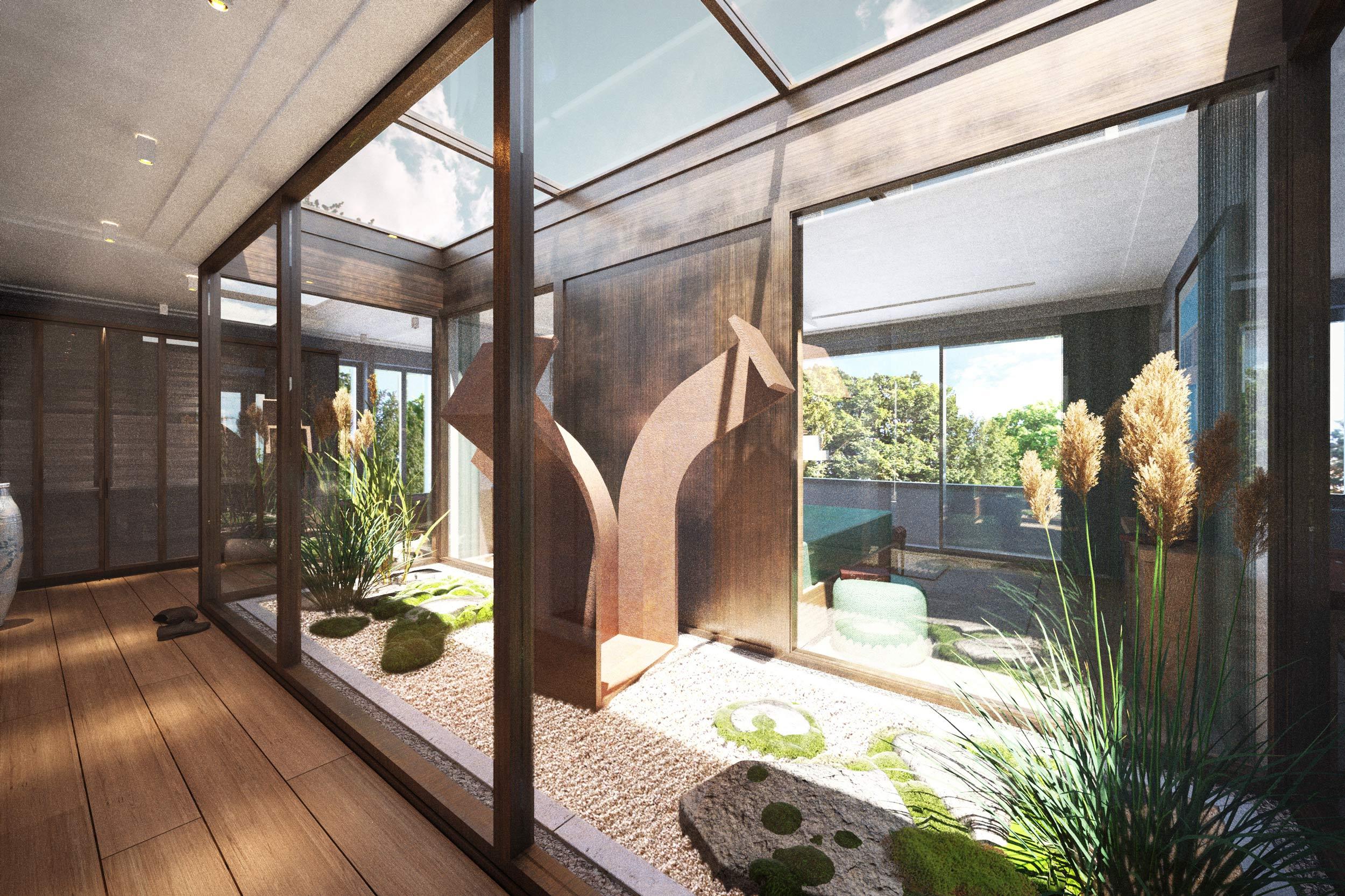 HAUS AM HAUS - Erweiterung einer Dahlemer Stadtvilla - Der Masterbereich erstreckt sich über eine ganze Etage und wird durch ein Atrium belichtet.