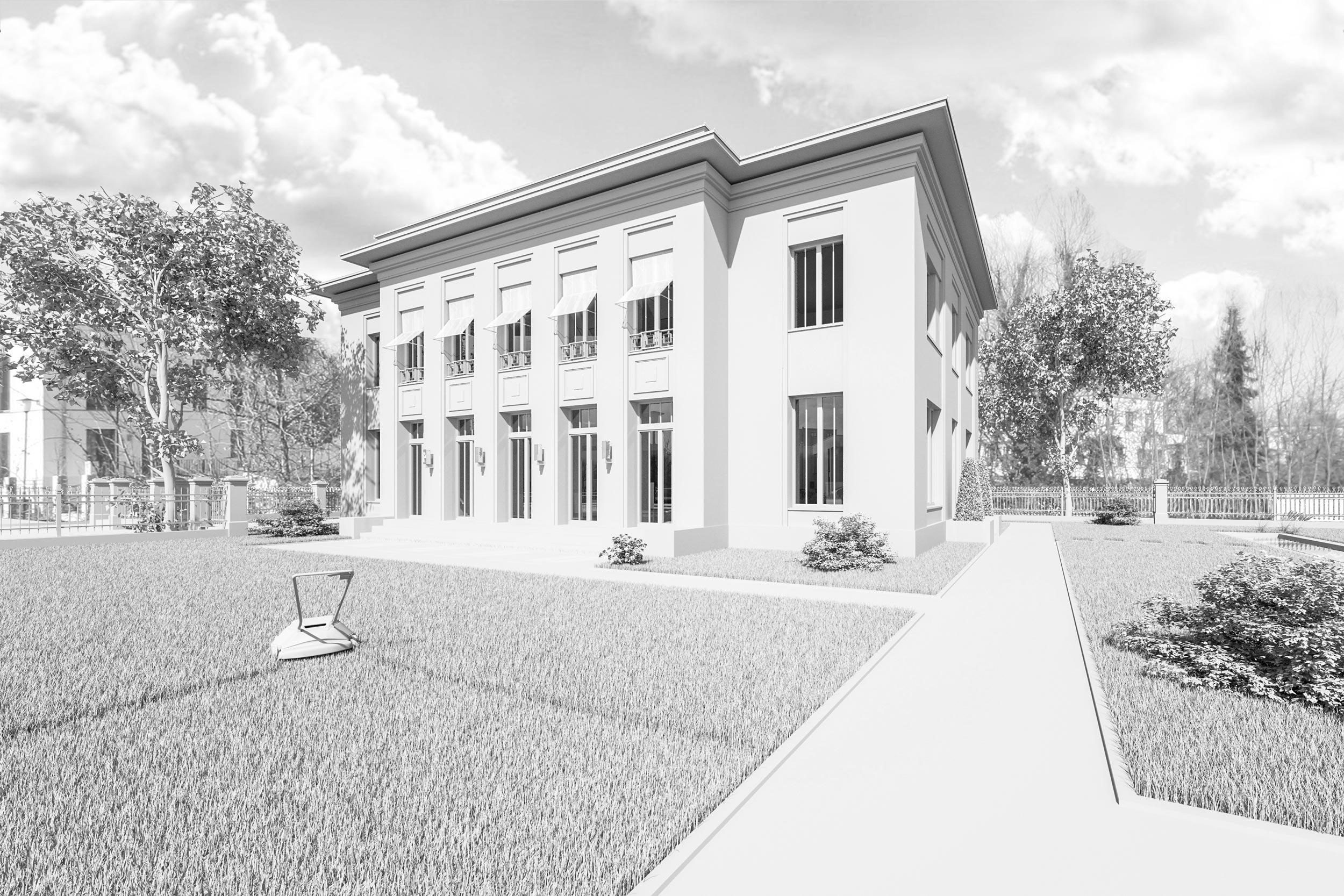 Neubau einer Landhausvilla in der Berliner Vorstadt in Potsdam - Unaufgeregt soll sich die Villa in die Nachbarschaft einordnen, andererseits aber durch die präzise gesetzten Öffnungsproportionen und eine feine Ornamentierung einen spannungsvollen Kontrast zu dieser bilden.