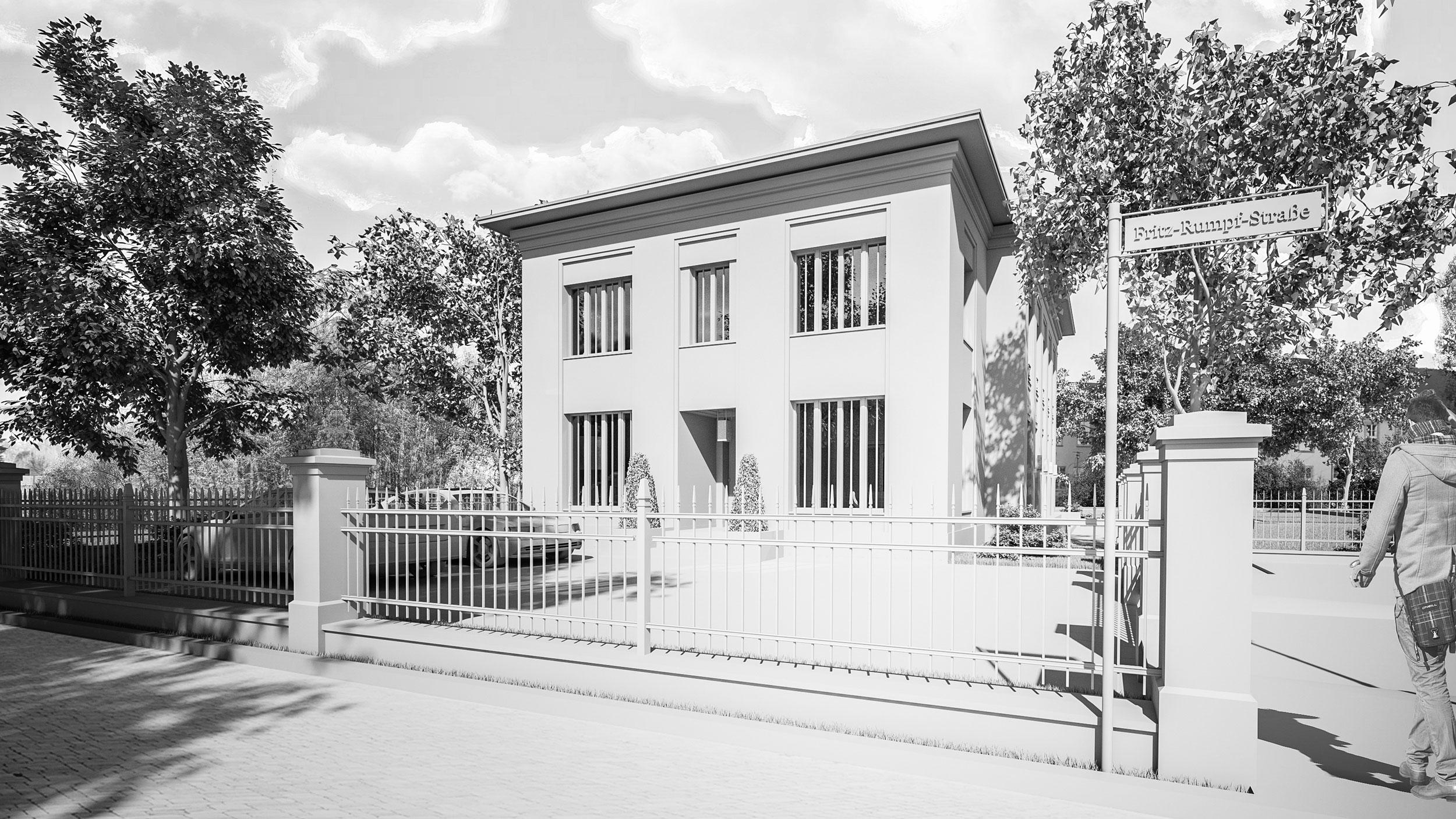 Neubau einer Landhausvilla in der Berliner Vorstadt in Potsdam - Eingangsportal, große Atelierfenster und ein weit auskragendes Attikagesims geben der Straßenfassade seinen Charakter.