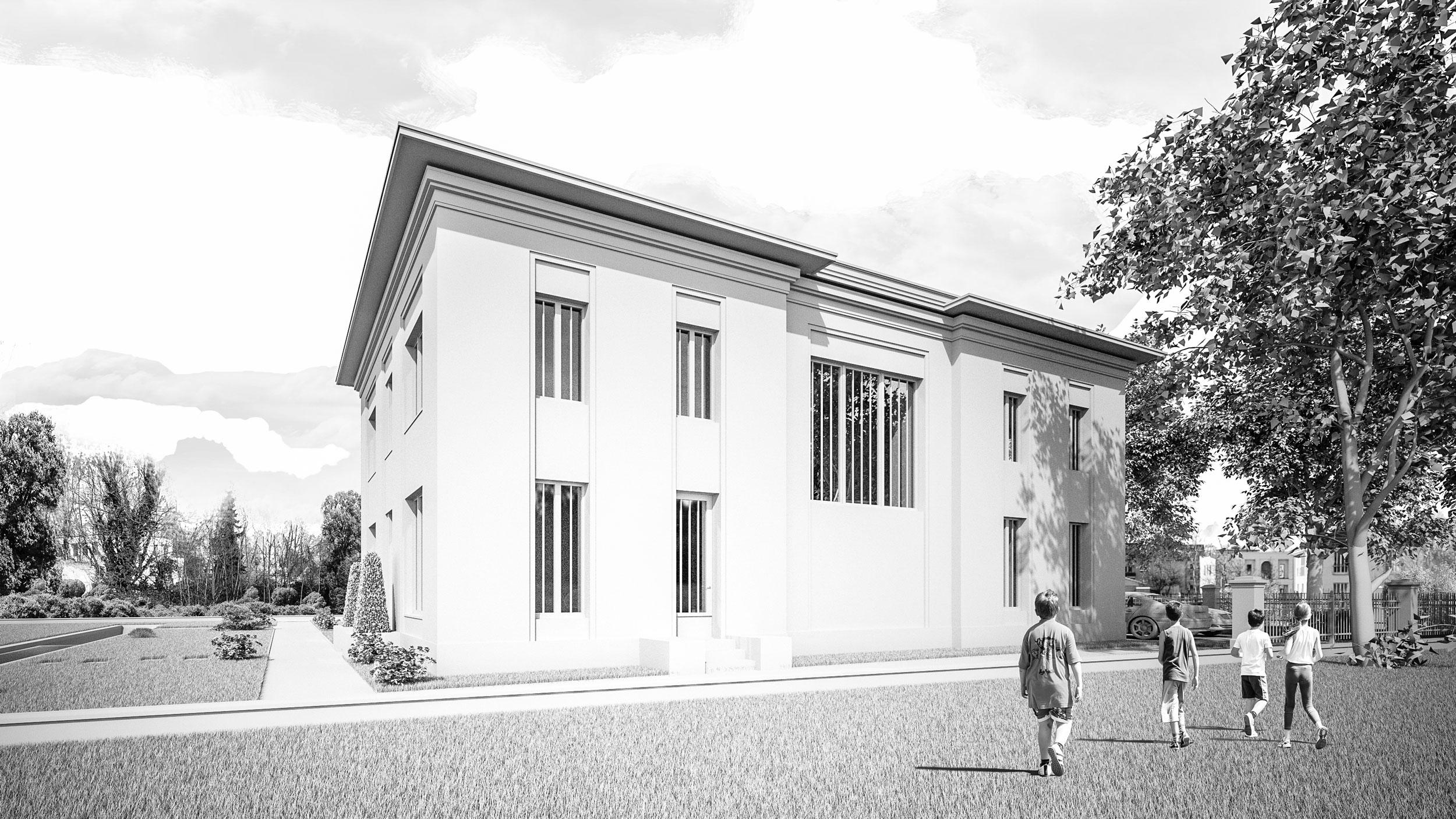 Neubau einer Landhausvilla in der Berliner Vorstadt in Potsdam - Die Wohnbereiche und die vollverglaste Terppenhalle gliedern die Gartenfassade.