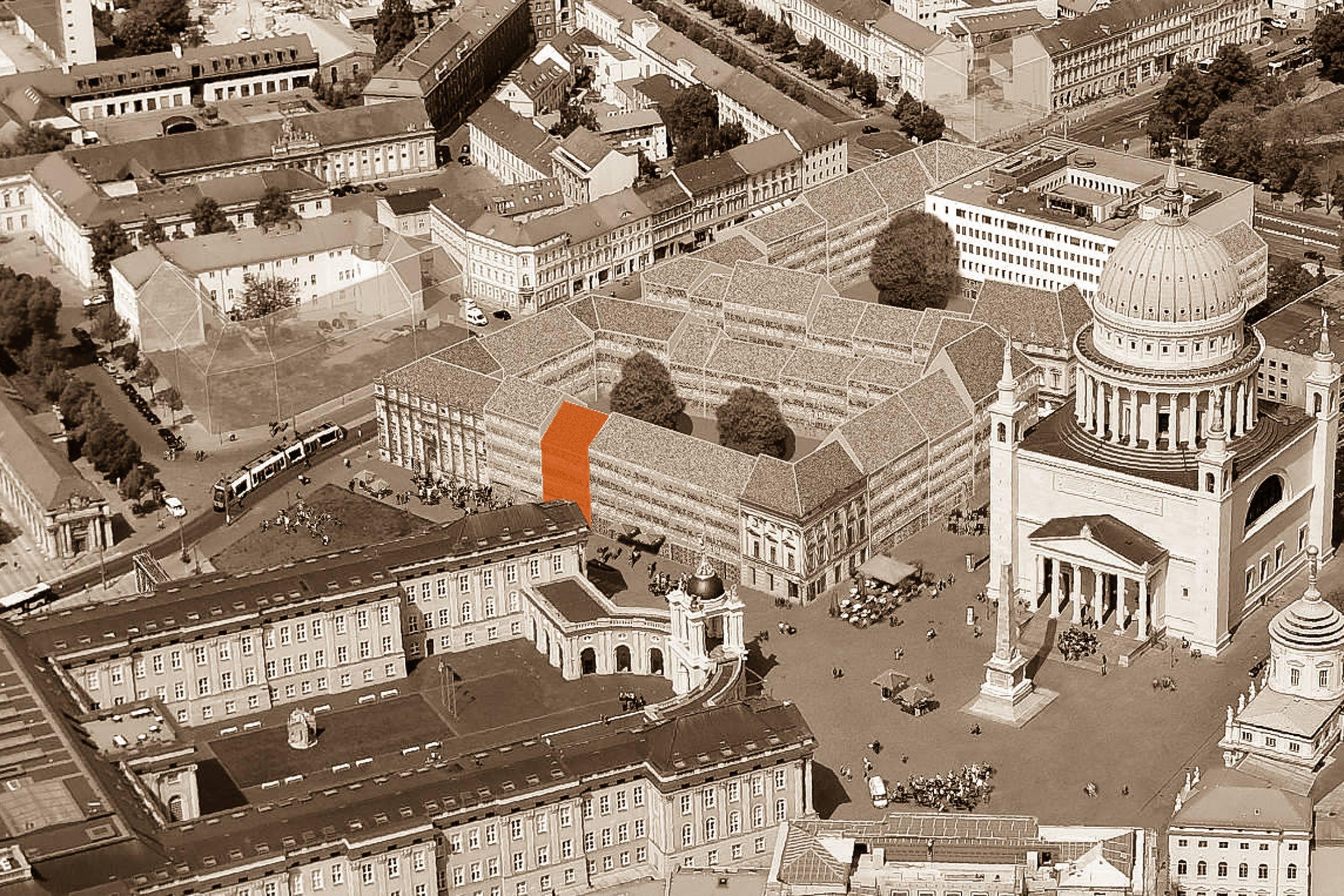 NEUE MITTE POTSDAM – Neubau städtisches Wohnhaus am Steubenplatz - Die Lage des Grundstücks in direkter Nähe zum Stadtschloss, der Nikoleikirche, Potsdamer Rathaus und dem Museum Barberini.