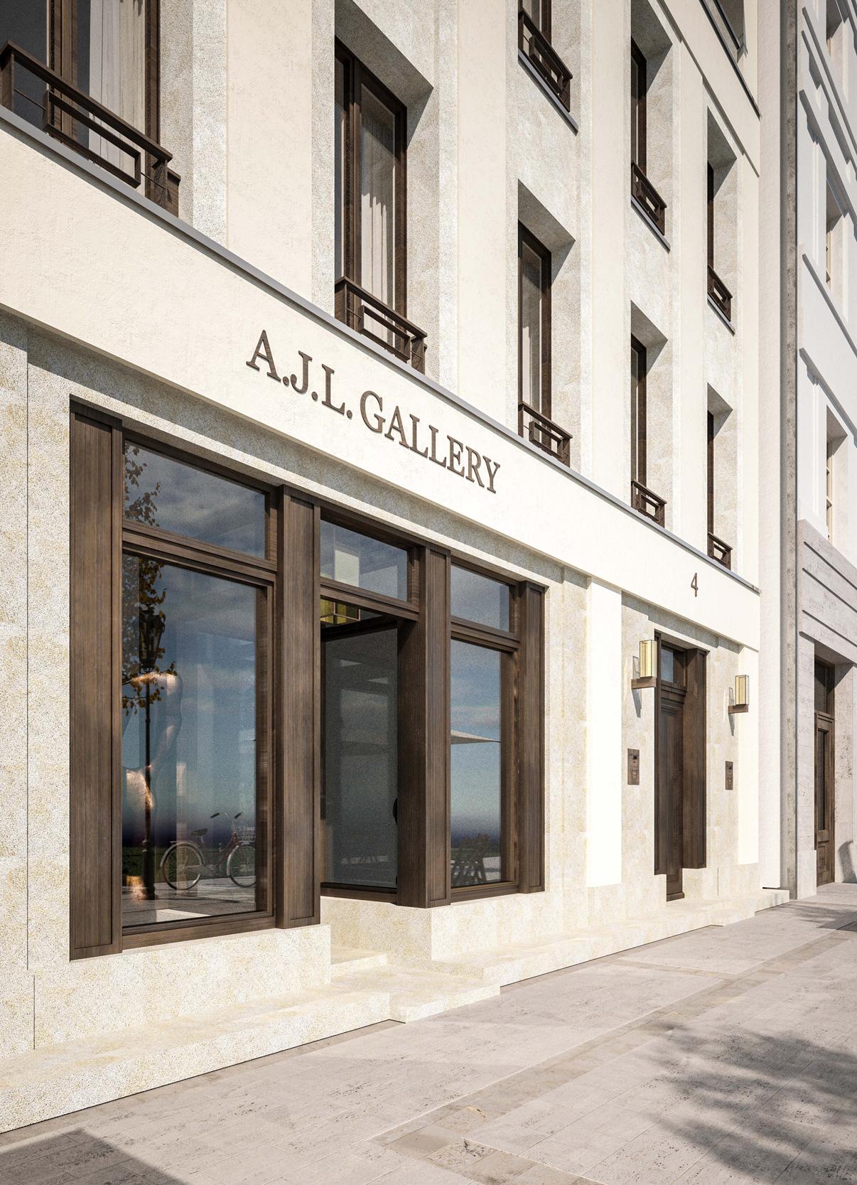 NEUE MITTE POTSDAM – Neubau städtisches Wohnhaus am Steubenplatz - Die Materialien der Schaufensteranlage im Erdgeschoss sind Kirchheimer Naturstein und Baubronze.