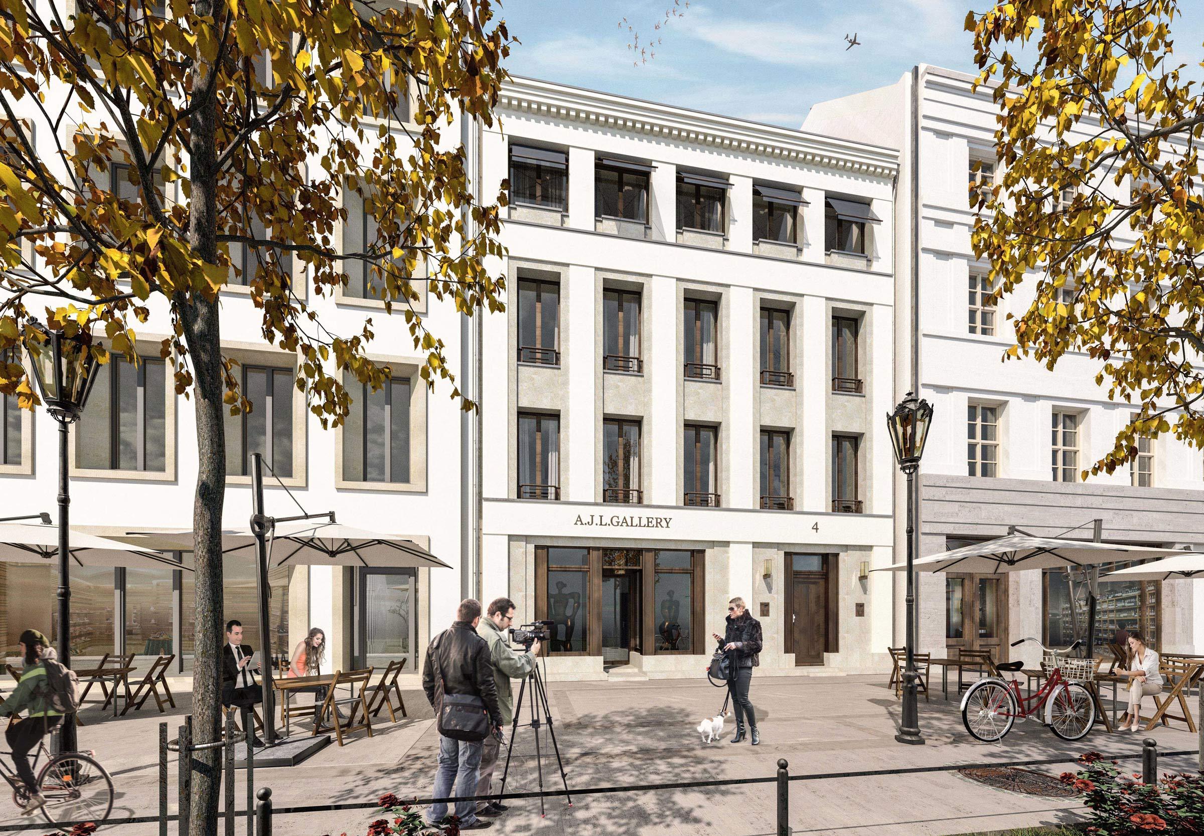 NEUE MITTE POTSDAM – Neubau städtisches Wohnhaus am Steubenplatz - Sandstein, Putzlisenen und Gesimse bilden das Relief der Straßenfassade.
