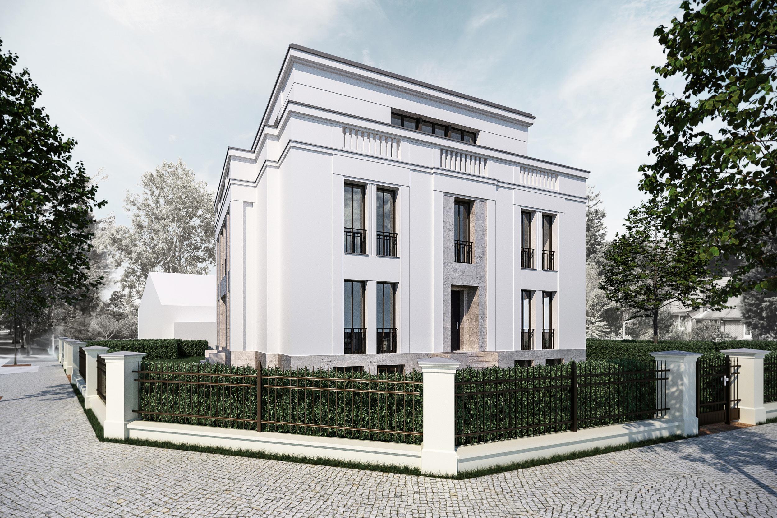 Bauen in klassischer Tradition im Berliner Grunewald - Beide Straßenfassaden besitzen Portale mit unterschiedlicher Stilistik.