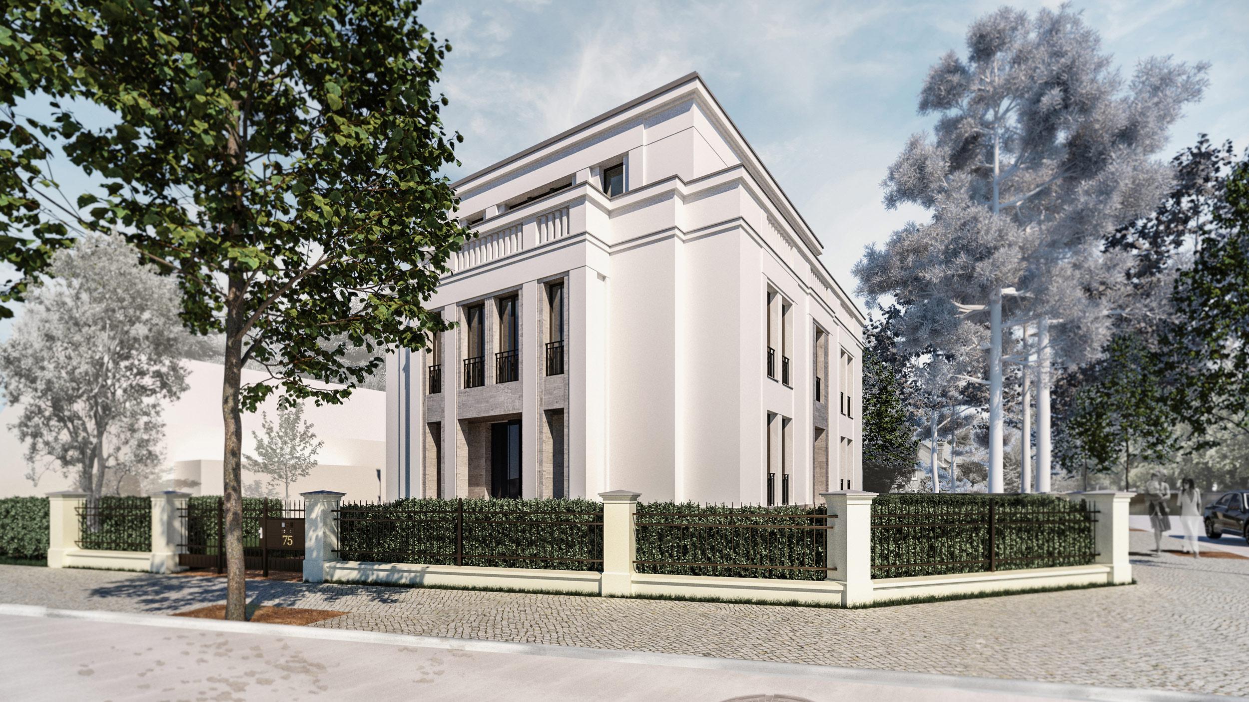 Bauen in klassischer Tradition im Berliner Grunewald - Der Kubatur des Hauses ist kompakt an der Straßeneinmündung positioniert.