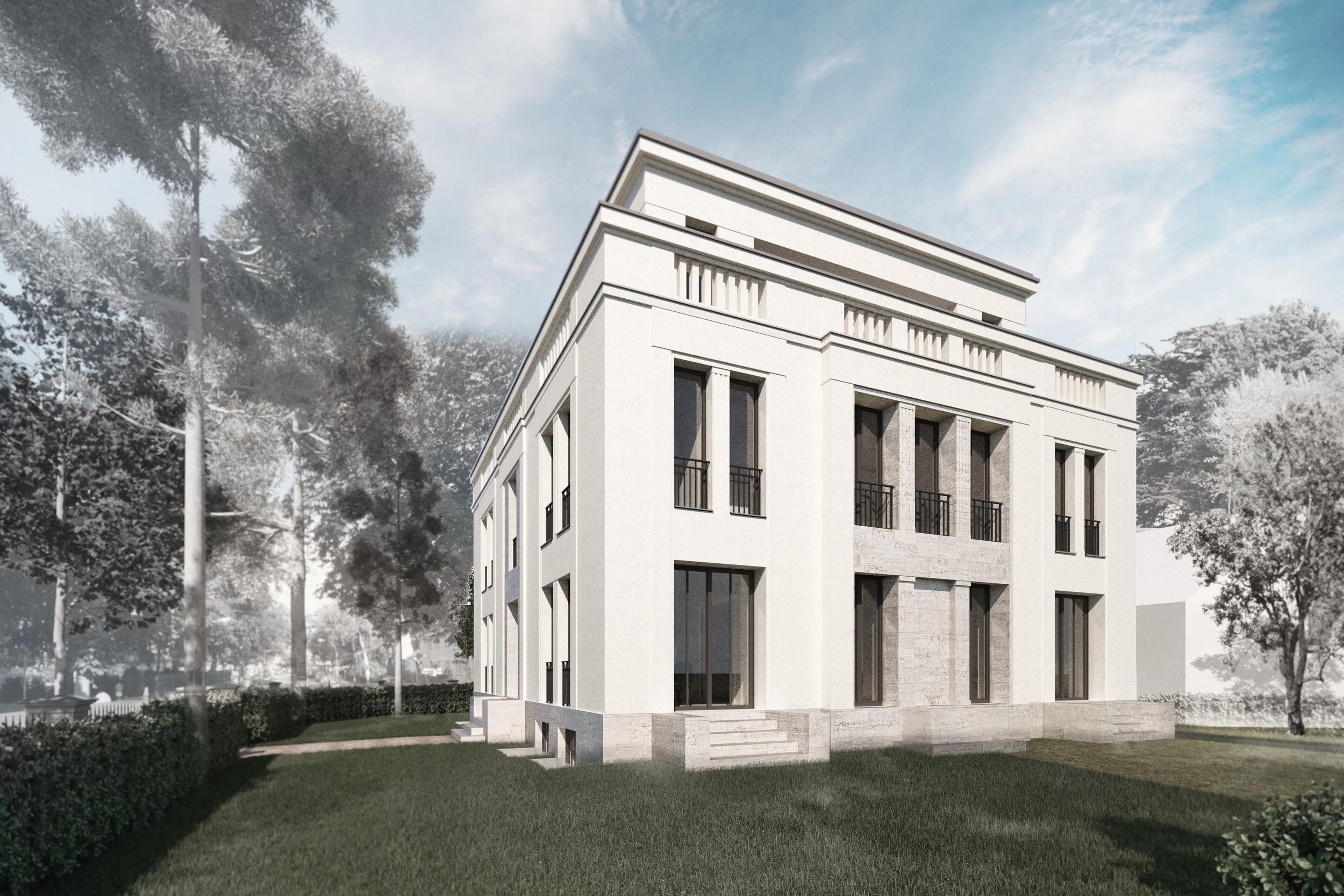 Bauen in klassischer Tradition im Berliner Grunewald - Die Loggia der Gartenfassade im Stil eines Portals mit Säulen.