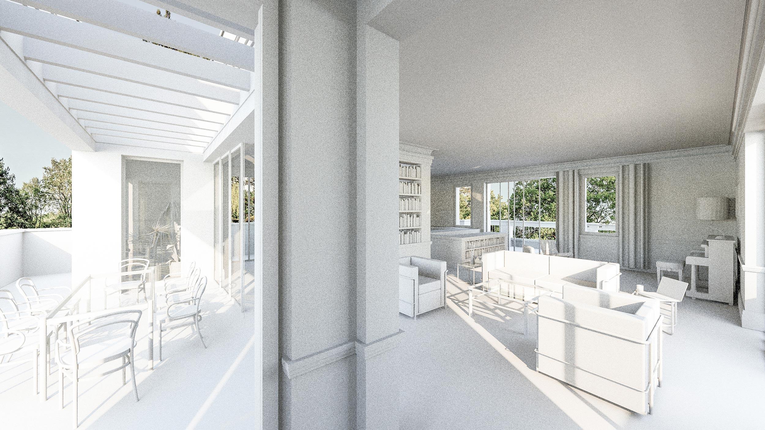 Bauen in klassischer Tradition im Berliner Grunewald - Die Wohnlandschaft des Penthouses geht direkt in die Terrasse über.