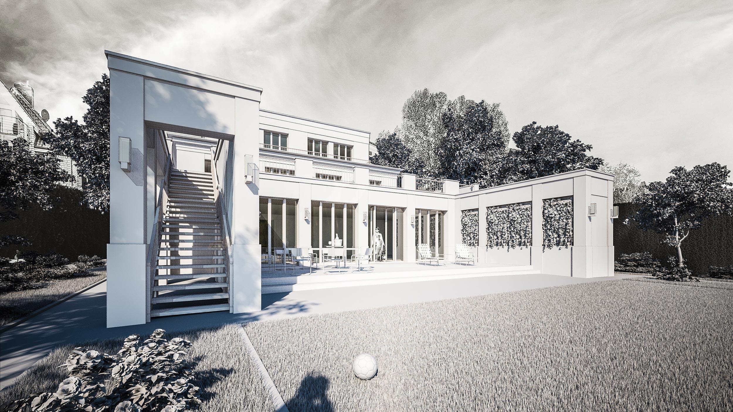 SEETERRASSEN AN DER MÜRITZ – Redesign eines Mehrfamilienhauses am See - Drei Terrassenebenen eröffnen zum See weitläufige Aussichten auf die Müritz.