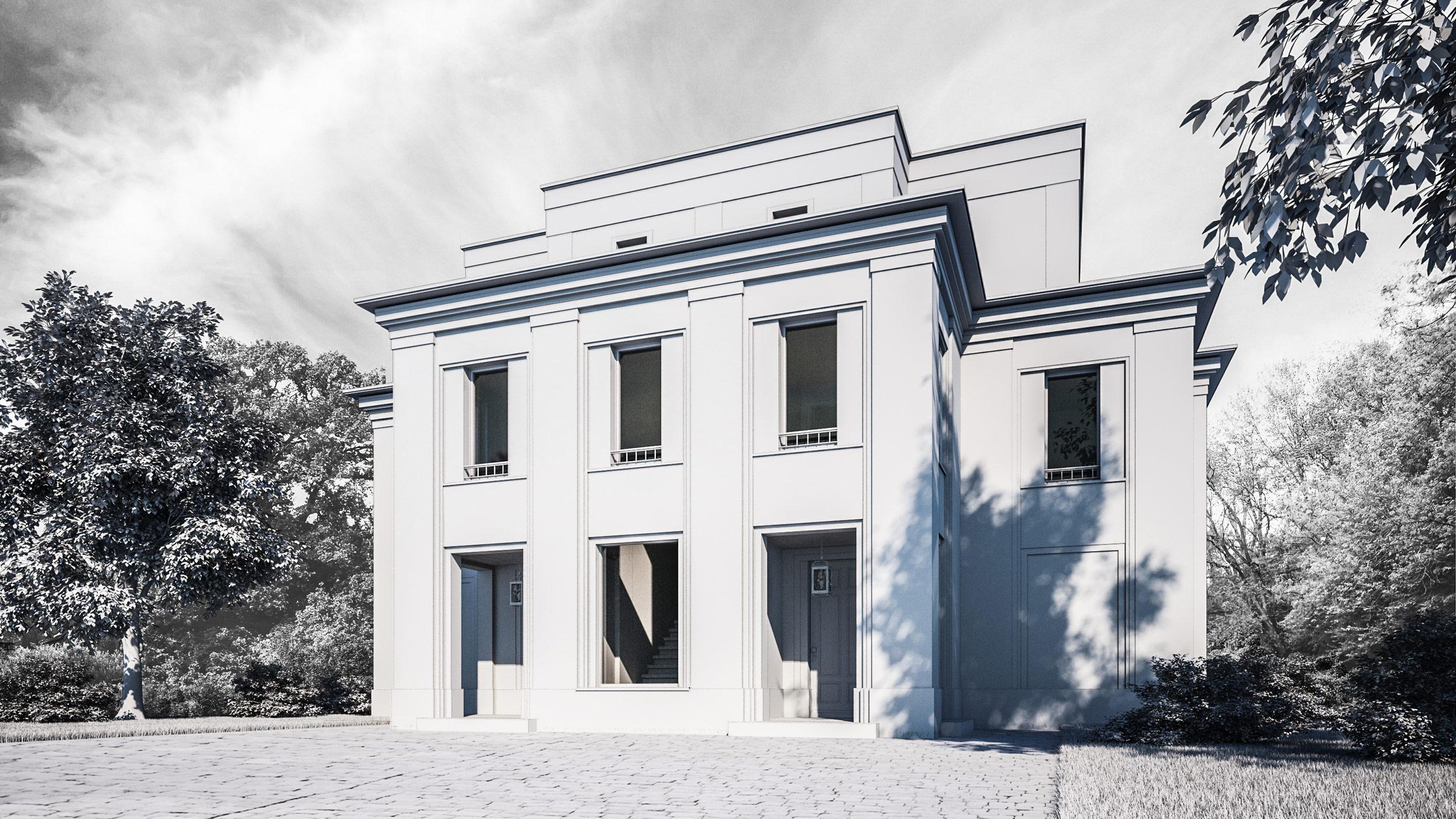 SEETERRASSEN AN DER MÜRITZ – Redesign eines Mehrfamilienhauses am See - Über halboffene Porches erfolgt der Zugang zu den Wohnungen im Eingangsportal.